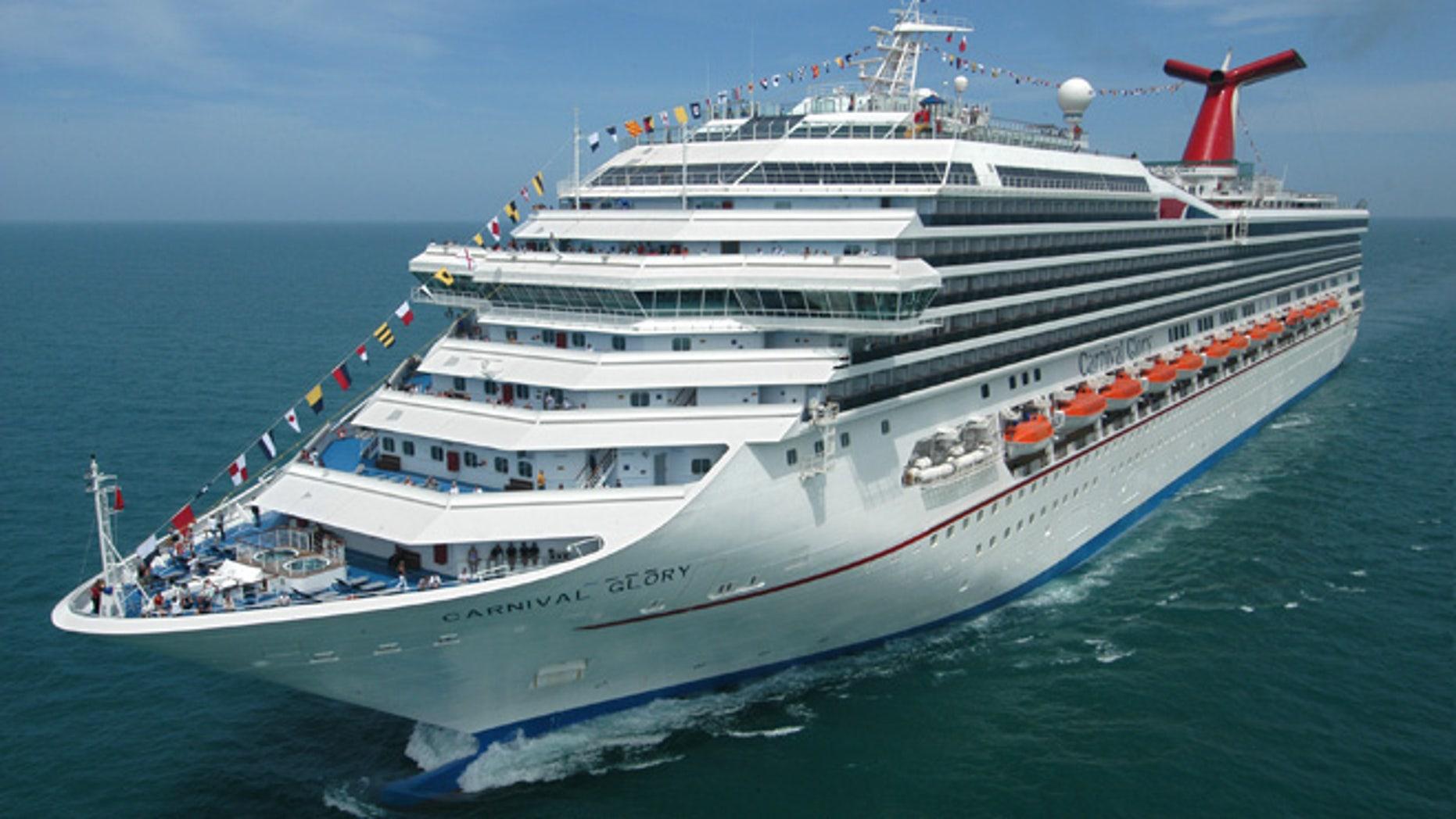 The Carnival Glory cruises off the coast of Florida.
