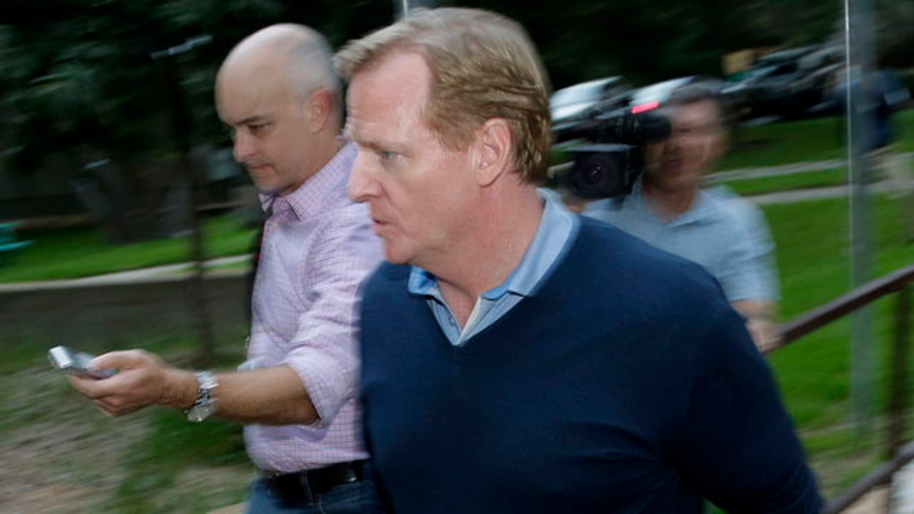 September 27, 2014: NFL commissioner Roger Goodell arrives at the headquarters of the National Domestic Violence hotline in Austin, Texas. (AP Photo/Eric Gay)