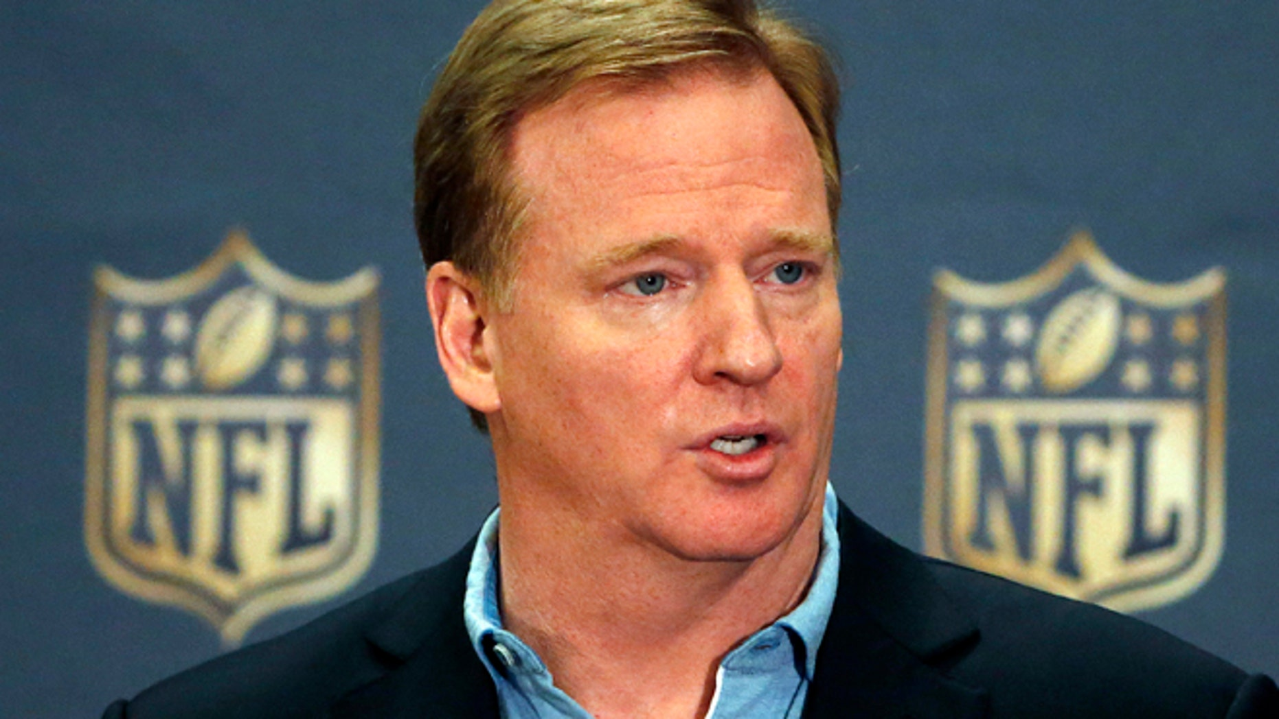 March 25, 2015: NFL Commissioner Roger Goodell addresses the media at a news conference at the NFL Annual Meeting in Phoenix.