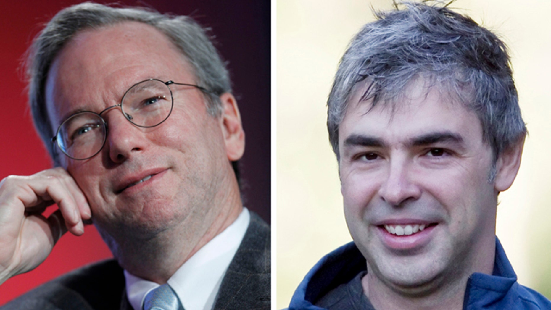 Google CEO Eric Schmidt, left, and Google co-founder Larry Page