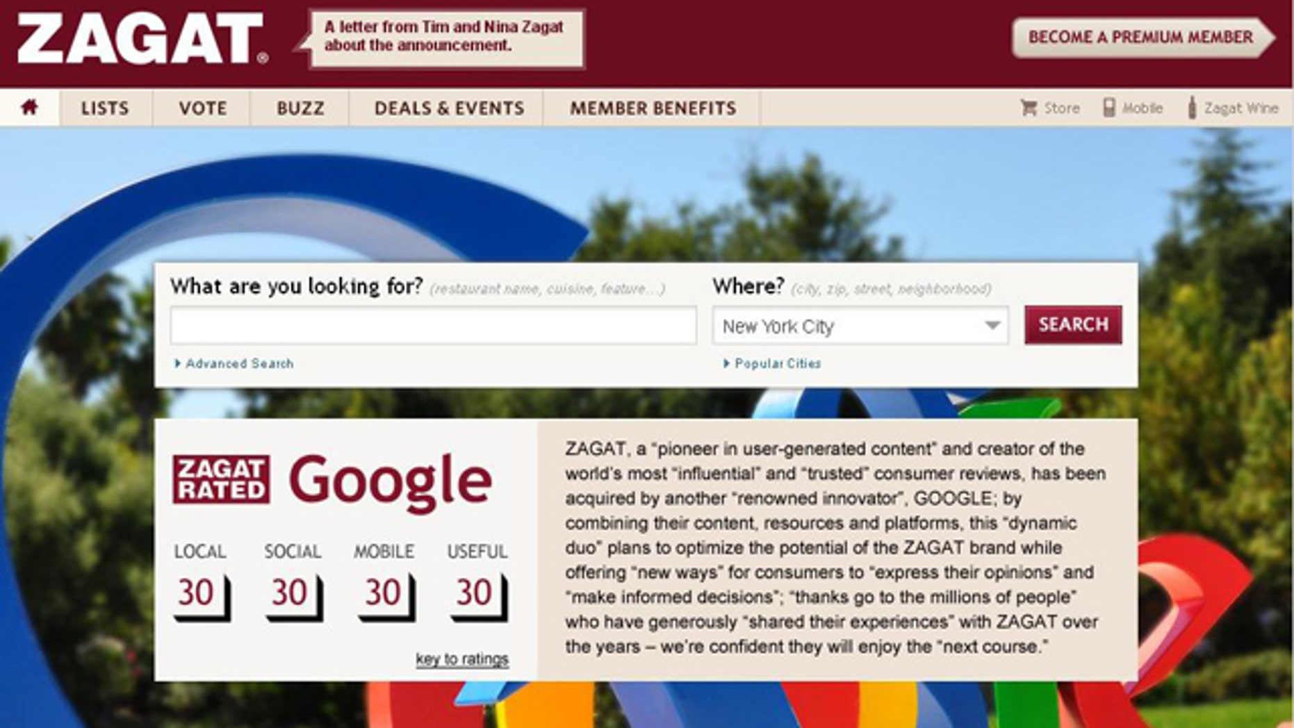 """The front page of restaurant review service rates Google a """"30,"""" when the search engine giant announced it would buy the company."""