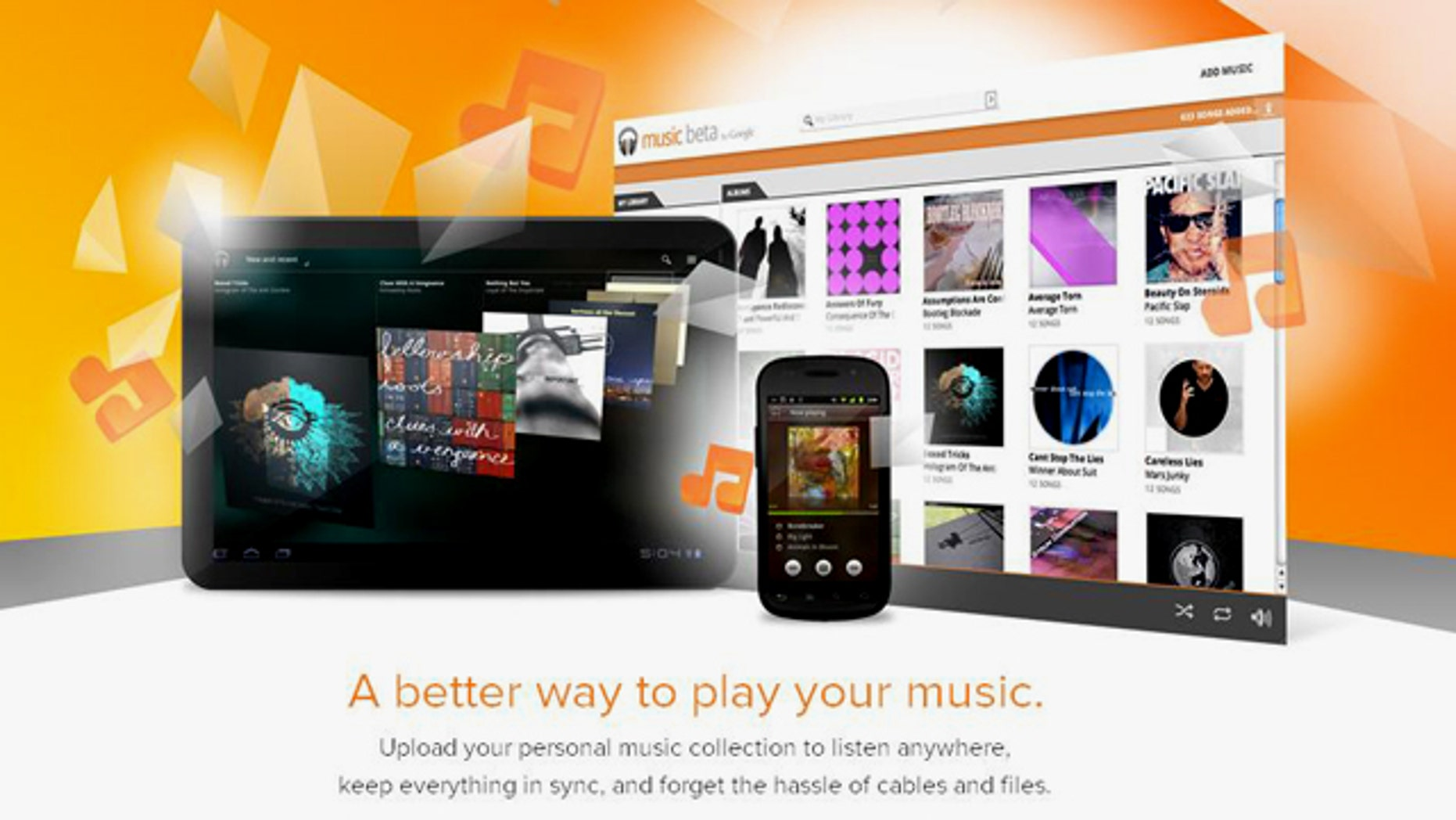 """A screenshot of the website for Music Beta by Google, the company's """"music locker"""" service. Google announced the public release of the finished product """"Google Music"""" on Wednesday, Nov. 16."""