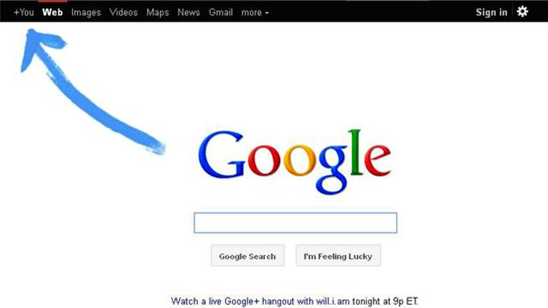 Sept. 21, 2011: The Google website invites all users to join the company's new social network, Google+, which is finally open for all comers.