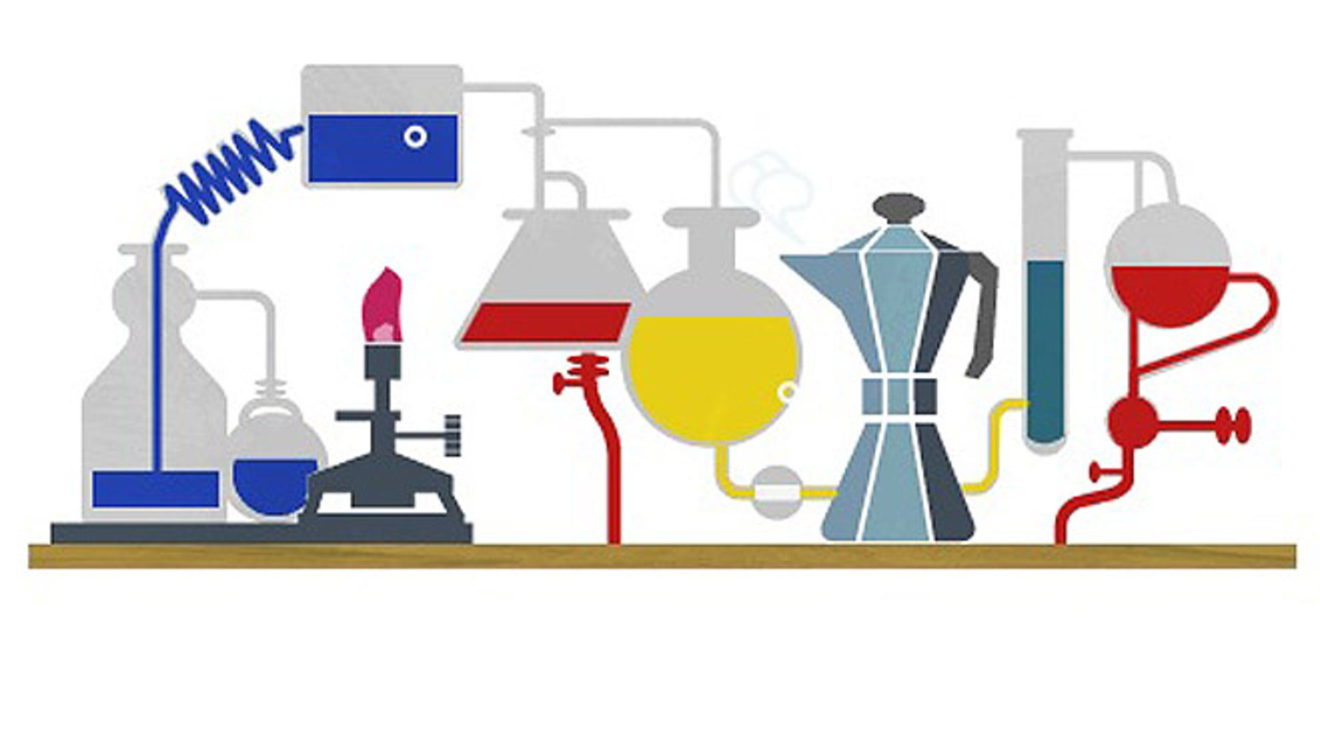 A Google doodle transforms the familiar logo into a science lab replete with beakers, vials ... and a steaming coffee pot.