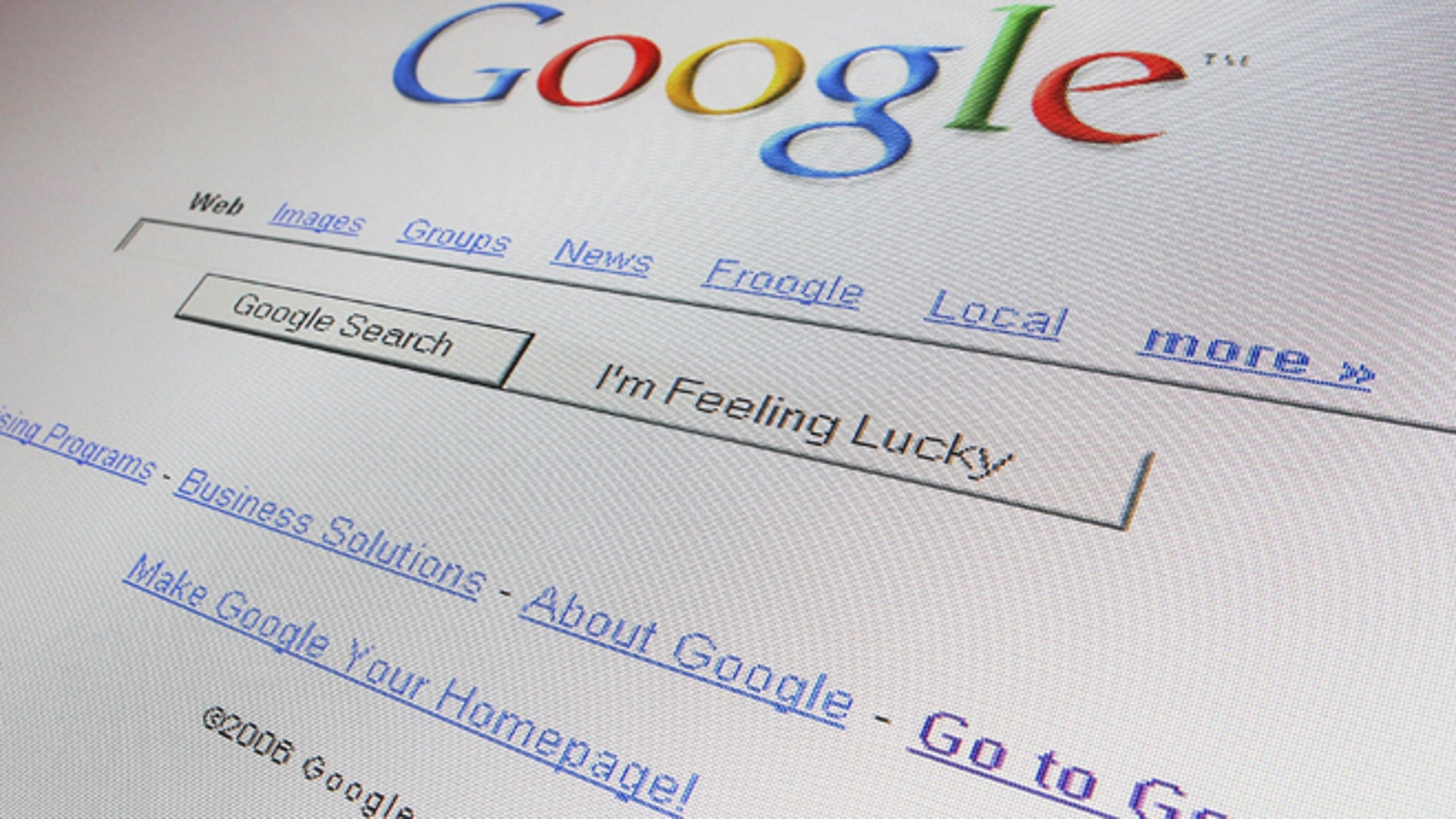 LONDON - APRIL 13:  In this photo illustration the logo and search page of the multi-facetted internet giant Google is displayed on a  computer screen on April 13, 2006 in London, England.  (Photo Illustration by Scott Barbour/Getty Images)