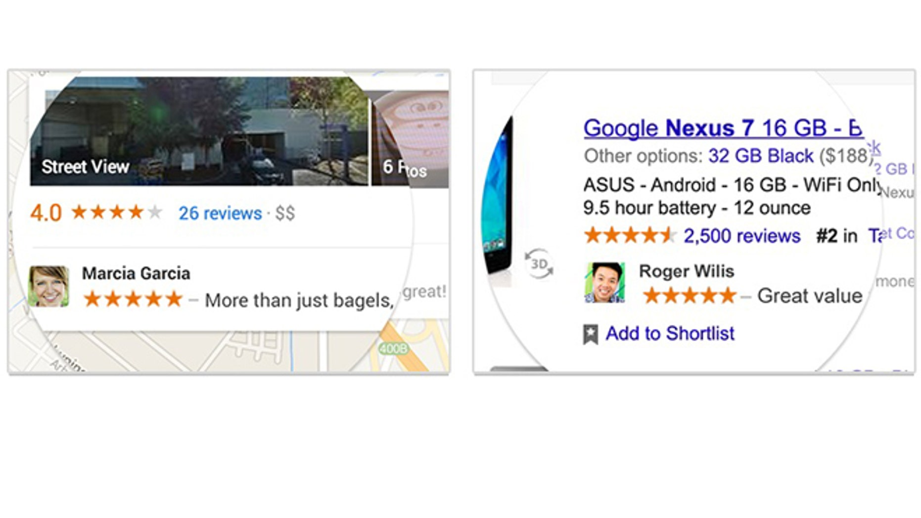 Examples of shared endorsements on Google.
