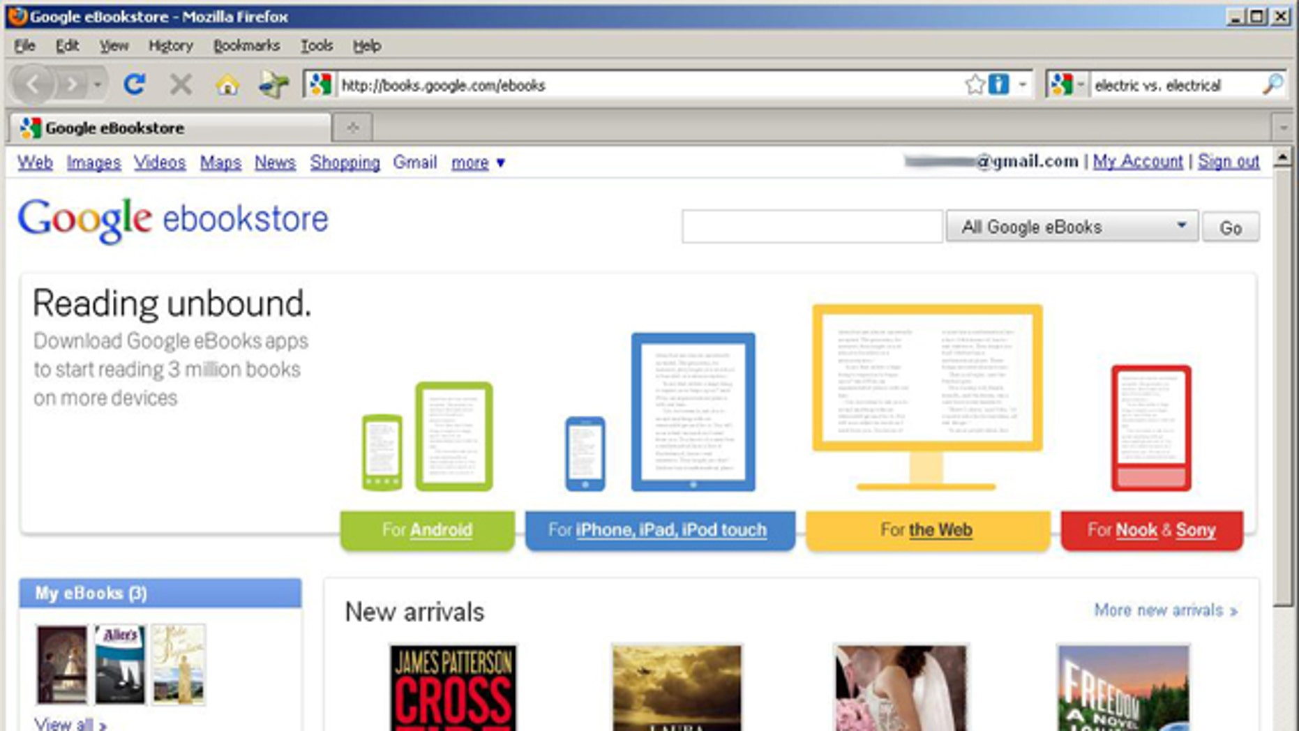 A screen capture of Google's new e-book store, dubbed Google eBooks, where the company will offer best-sellers and free classics for a wide variety of digital readers.