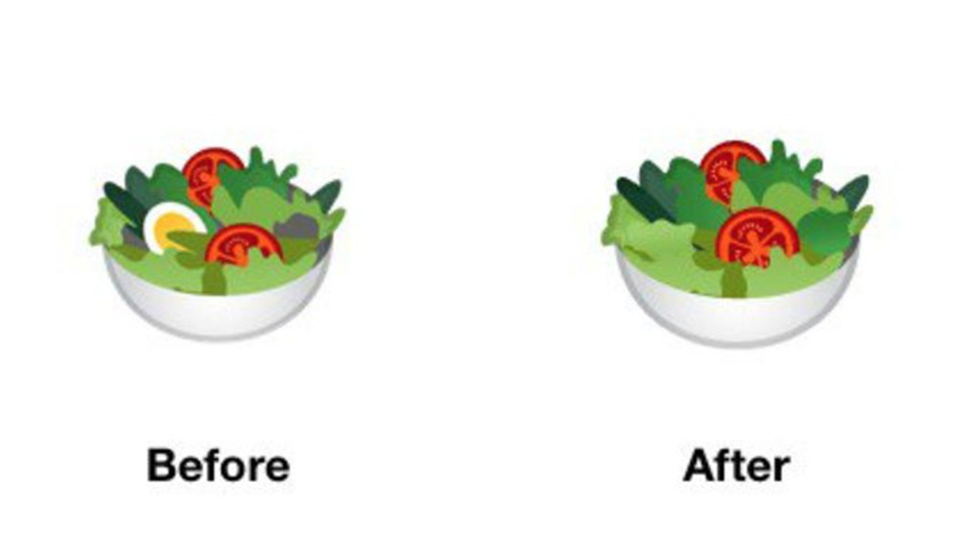 The original salad emoji featured an egg, which Google removed.