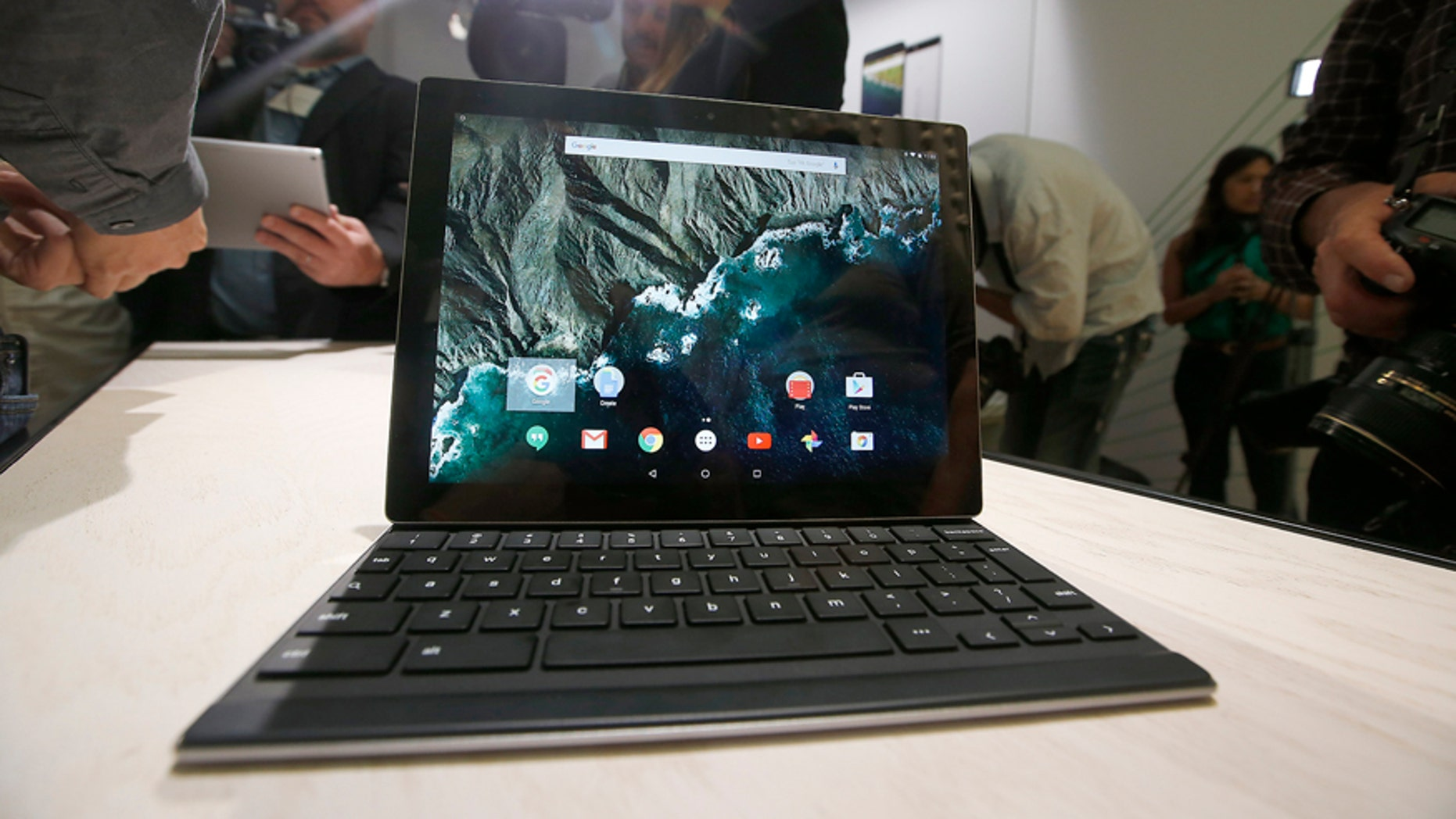 The new Google Pixel C tablet is on display during an Google event on Tuesday, Sept. 29, 2015, in San Francisco.