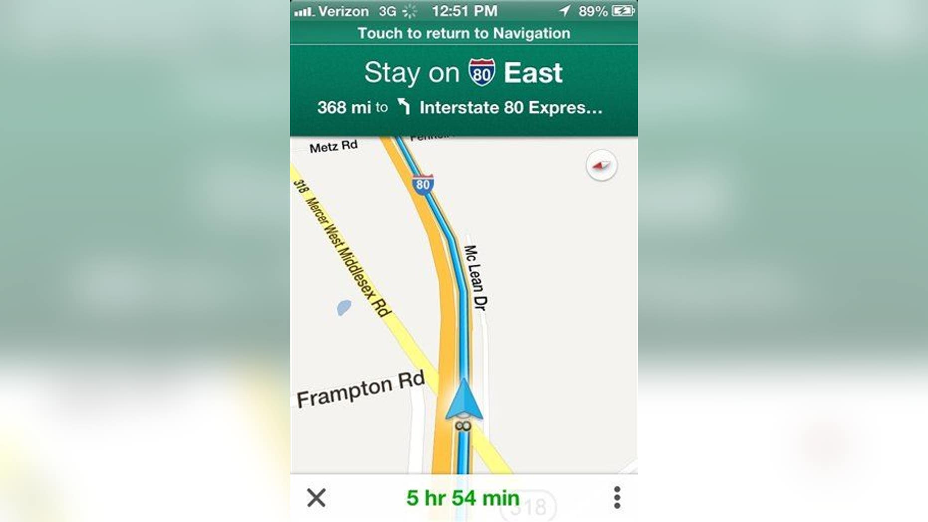 In this undated screenshot, the Google Maps application is demonstrated on an iPhone.