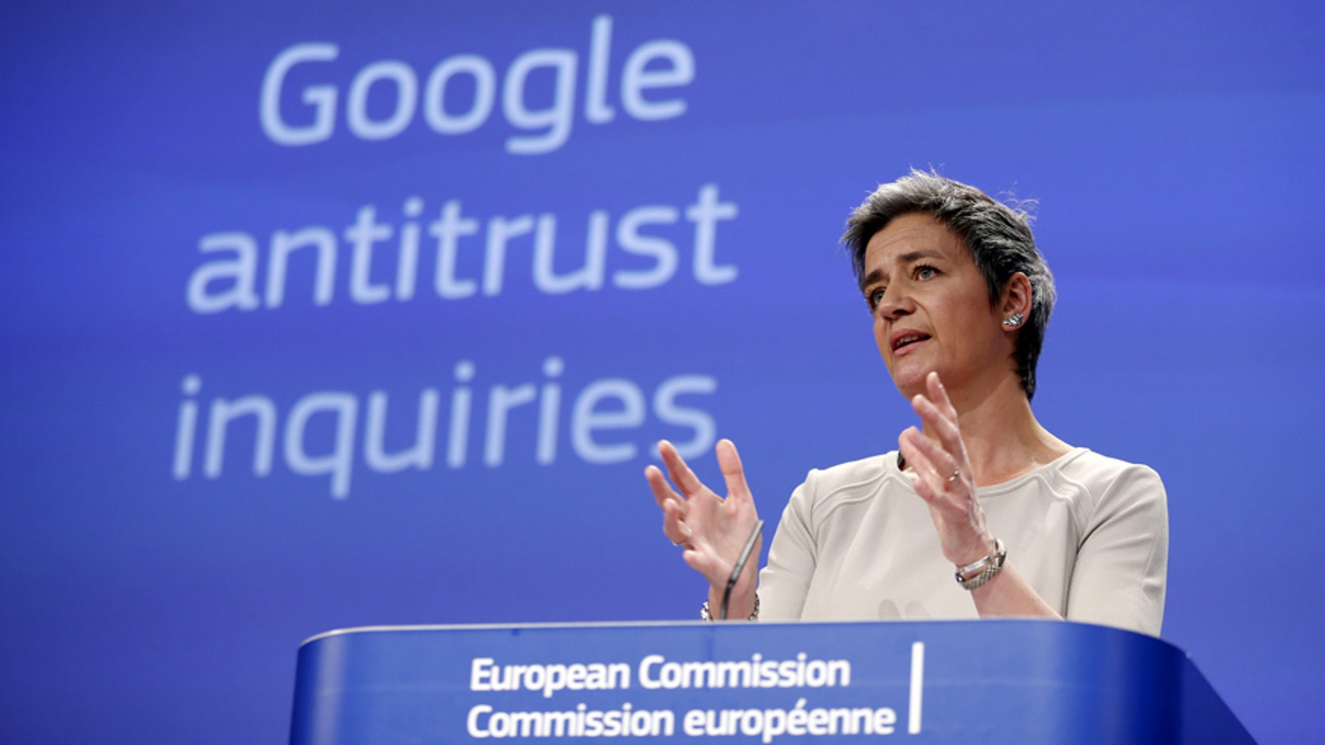 European Competition Commissioner Margrethe Vestager addresses a news conference at the EU Commission headquarters in Brussels April 15, 2015.