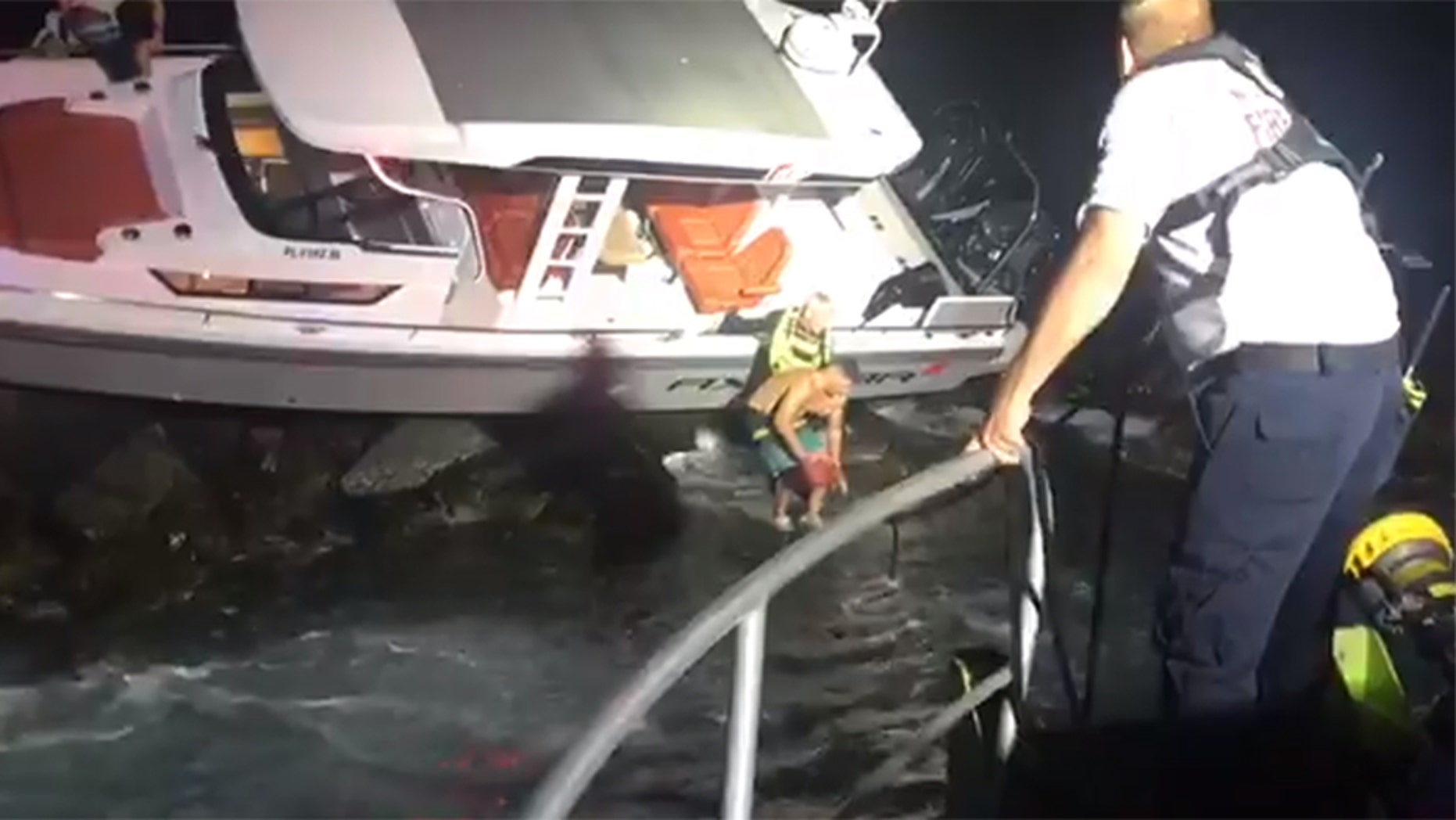 Three people had to be rescued after a boat rammed into a jetty close to where late Miami Marlins pitcher Jose Fernandez was killed in a 2016 crash.