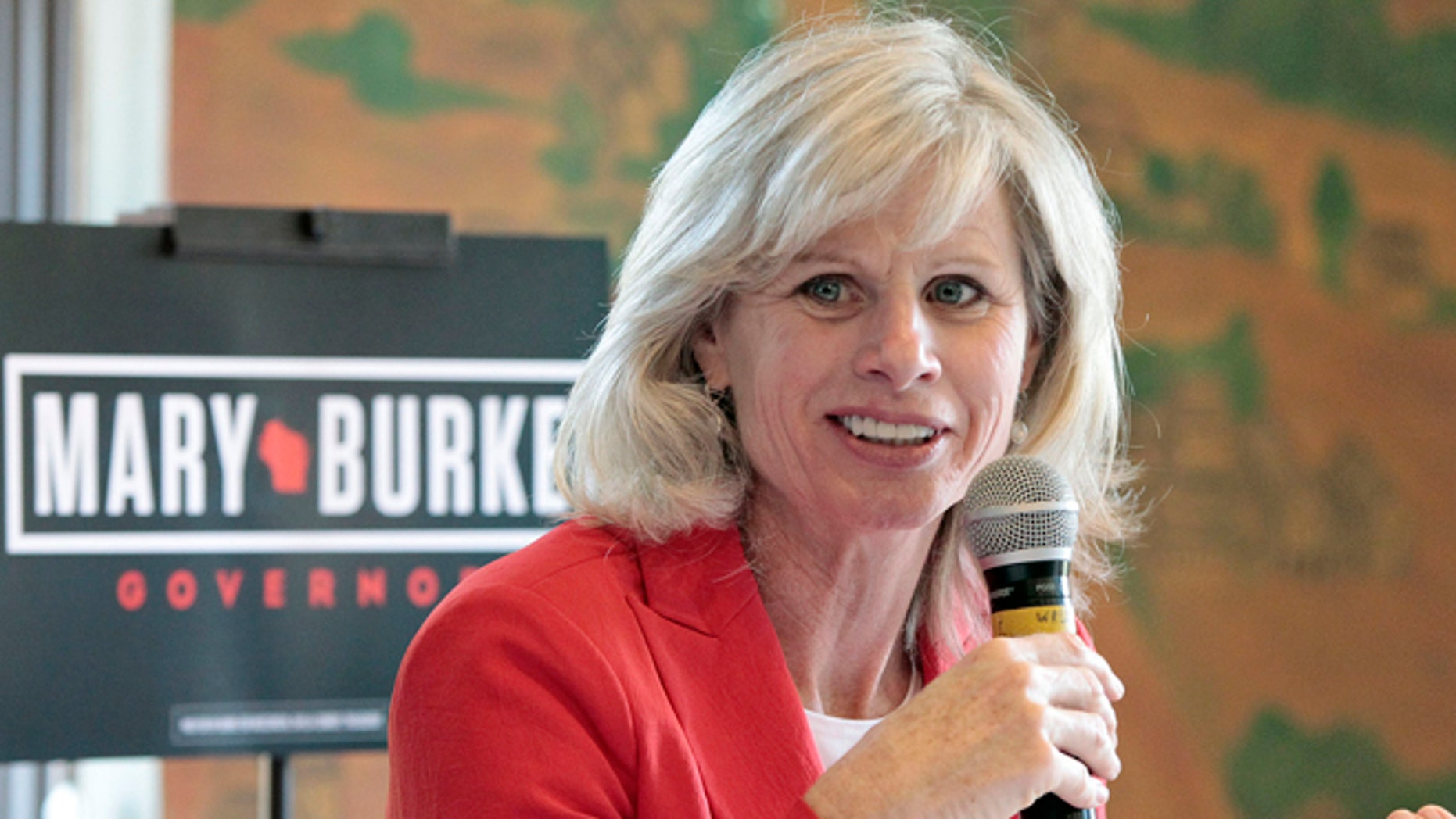 In this Sept. 22, 2014 photo, Democratic Wisconsin gubernatorial candidate Mary Burke speaks at an education forum in Madison, Wis.
