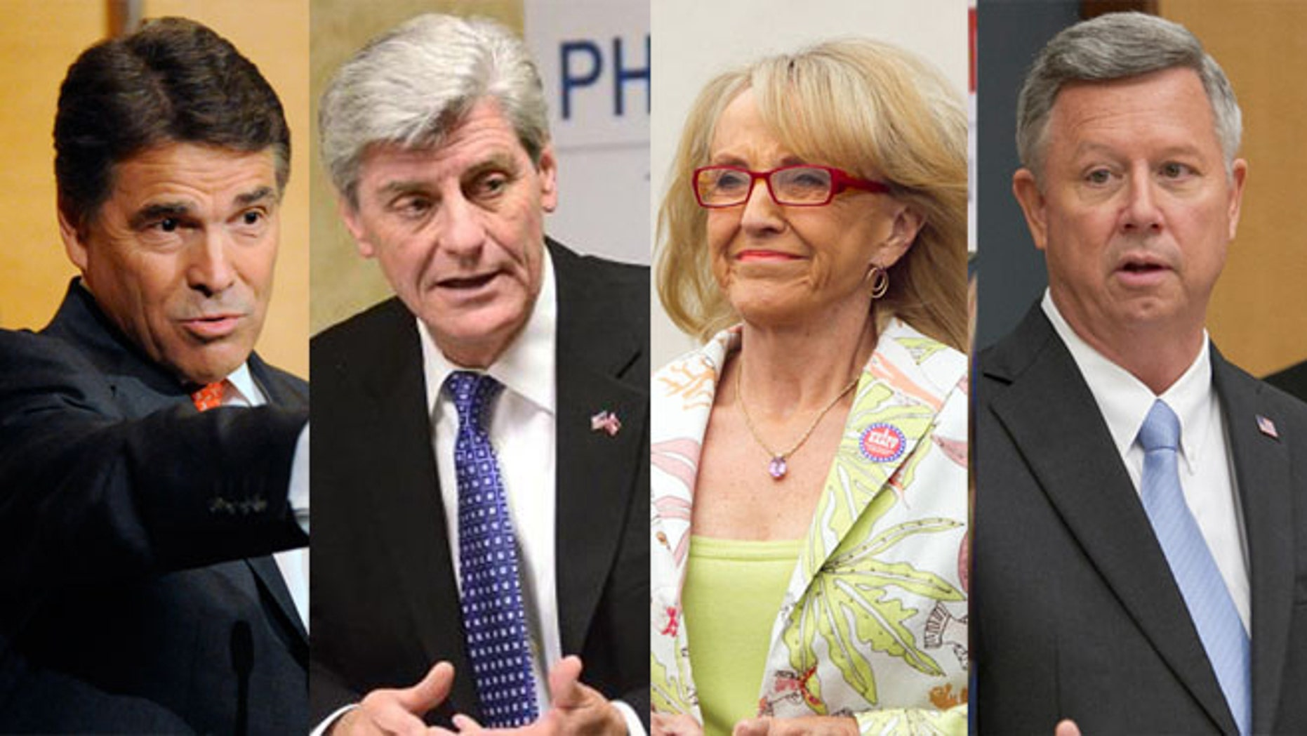 From left to right: Texas Governor Rick Perry, Mississippi Governor Phil Bryant, Arizona Governor Jan Brewer Nebraska Governor Dave Heineman. (AP images)