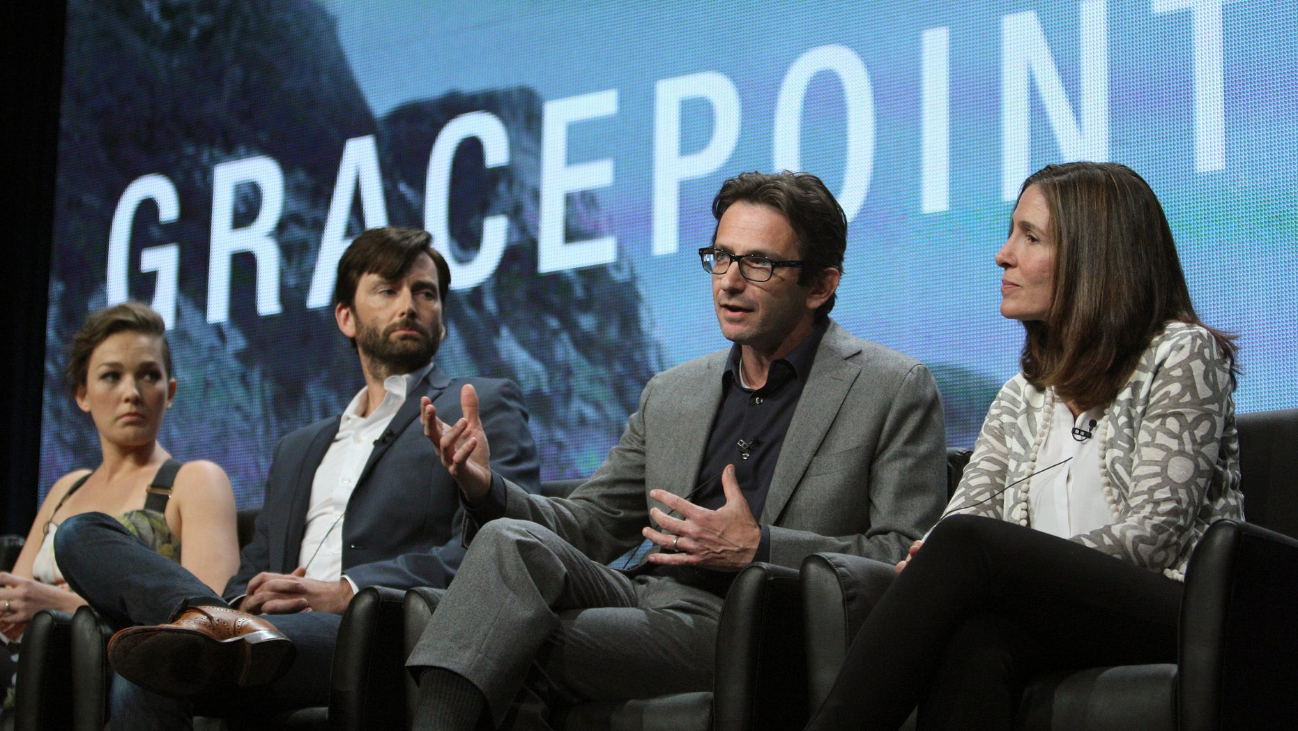 """(L-R) Actors Virginia Kull and David Tennant, and executive producers Dan Futterman and Carolyn Bernstein of the series """"Gracepoint"""" attend the 2014 TCA Summer Press Tour at the Beverly Hilton hotel in Beverly Hills, California, July 20, 2014."""
