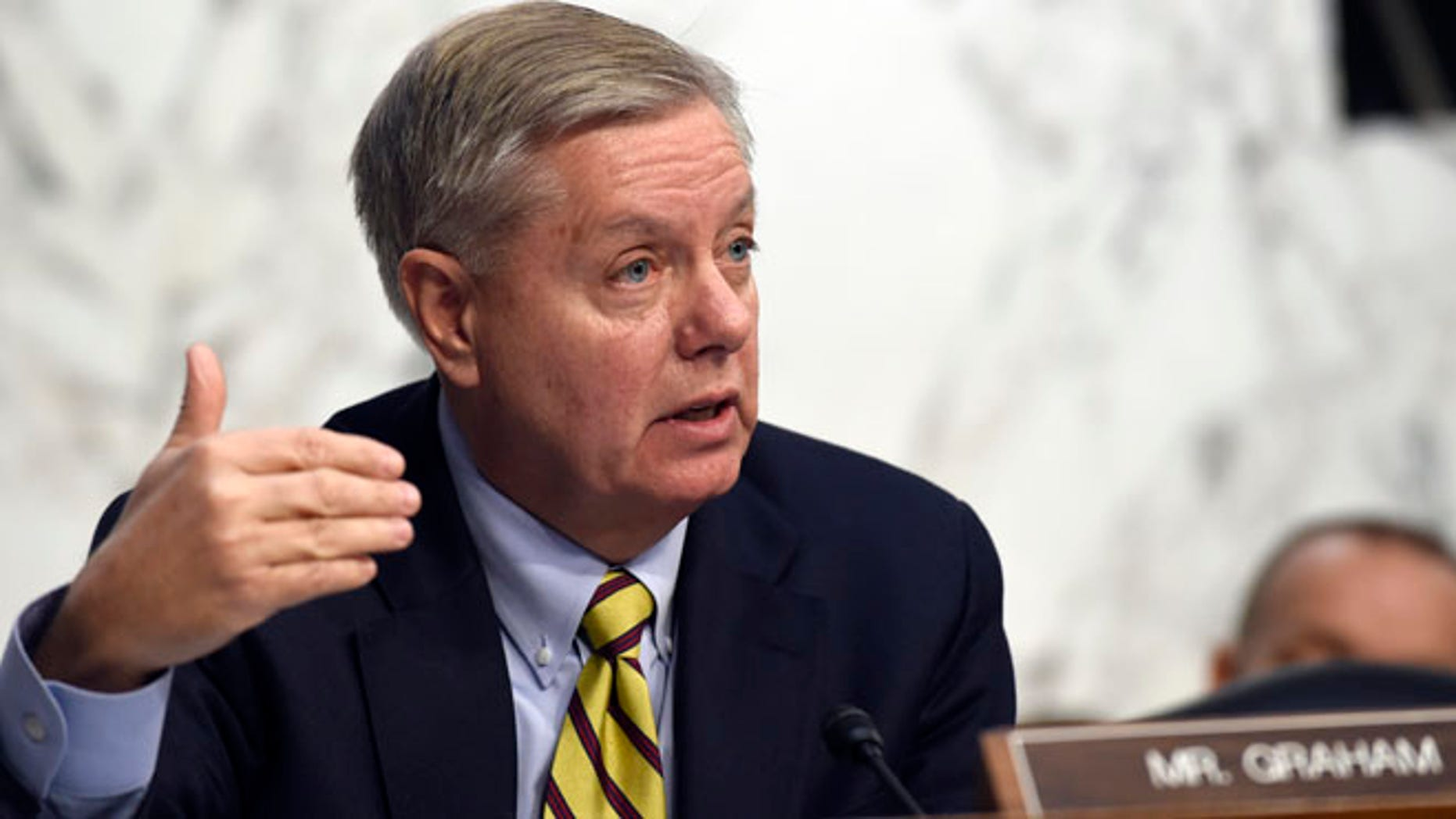 FILE: Jan. 28, 2015: Sen. Lindsey Graham, R-S.C., speaks on Capitol Hill in Washington, D.C.