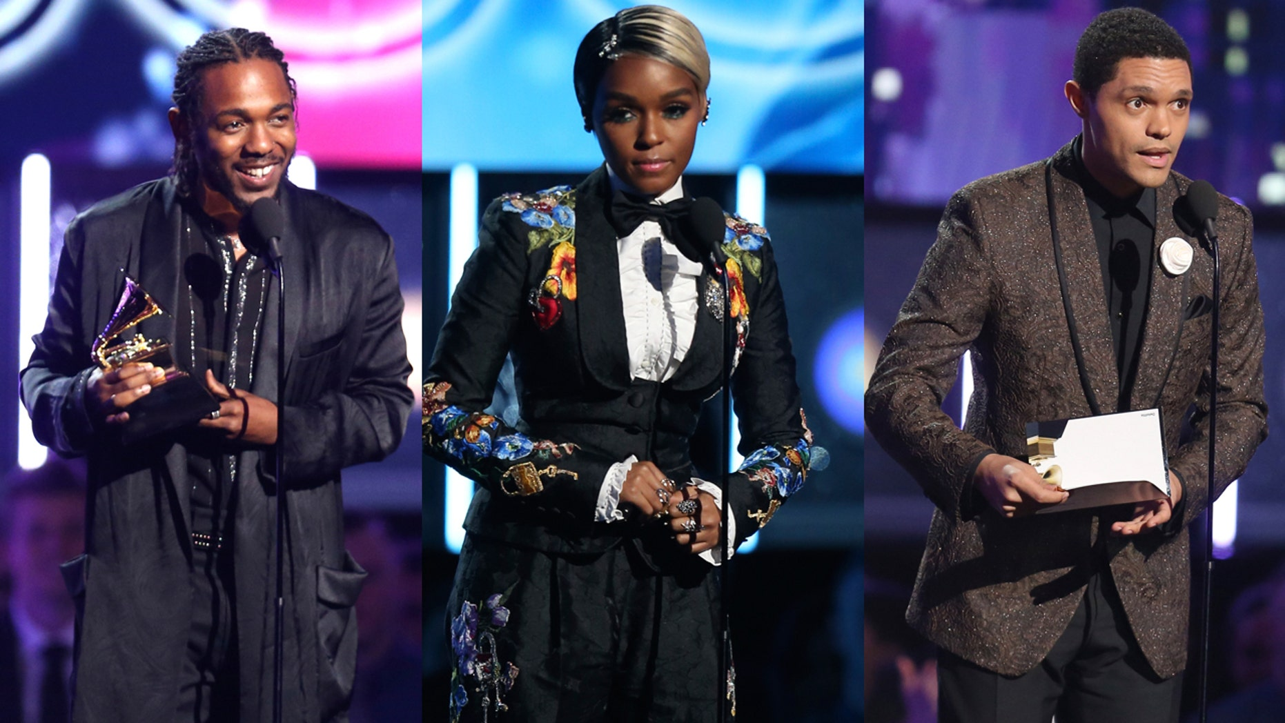 Kendrick Lamar, Janelle Monea and Trevor Noah got political at the 2018 Grammy Awards.