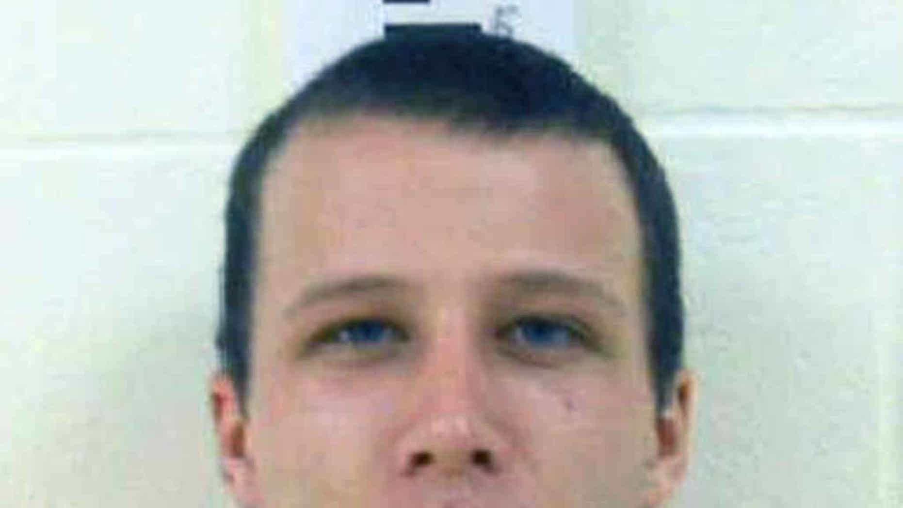 This 2012 booking photo released by the York County Sheriff's Department shows Derek Poulin, convicted in June 2015 of killing his grandmother Patricia Noel, by stabbing her dozens of times and setting her body afire. Poulin was sentenced to life in prison on Wednesday, July 29, 2015, in York County Superior Court in Alfred, Maine. (York County Sheriff's Department via AP)