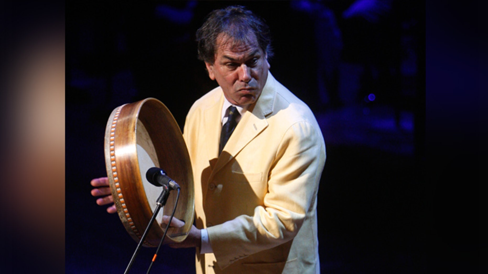 Mickey Hart of the Grateful Dead performing at a memorial service for the late CBS News anchorman Walter Cronkite at the Lincoln Center in New York.