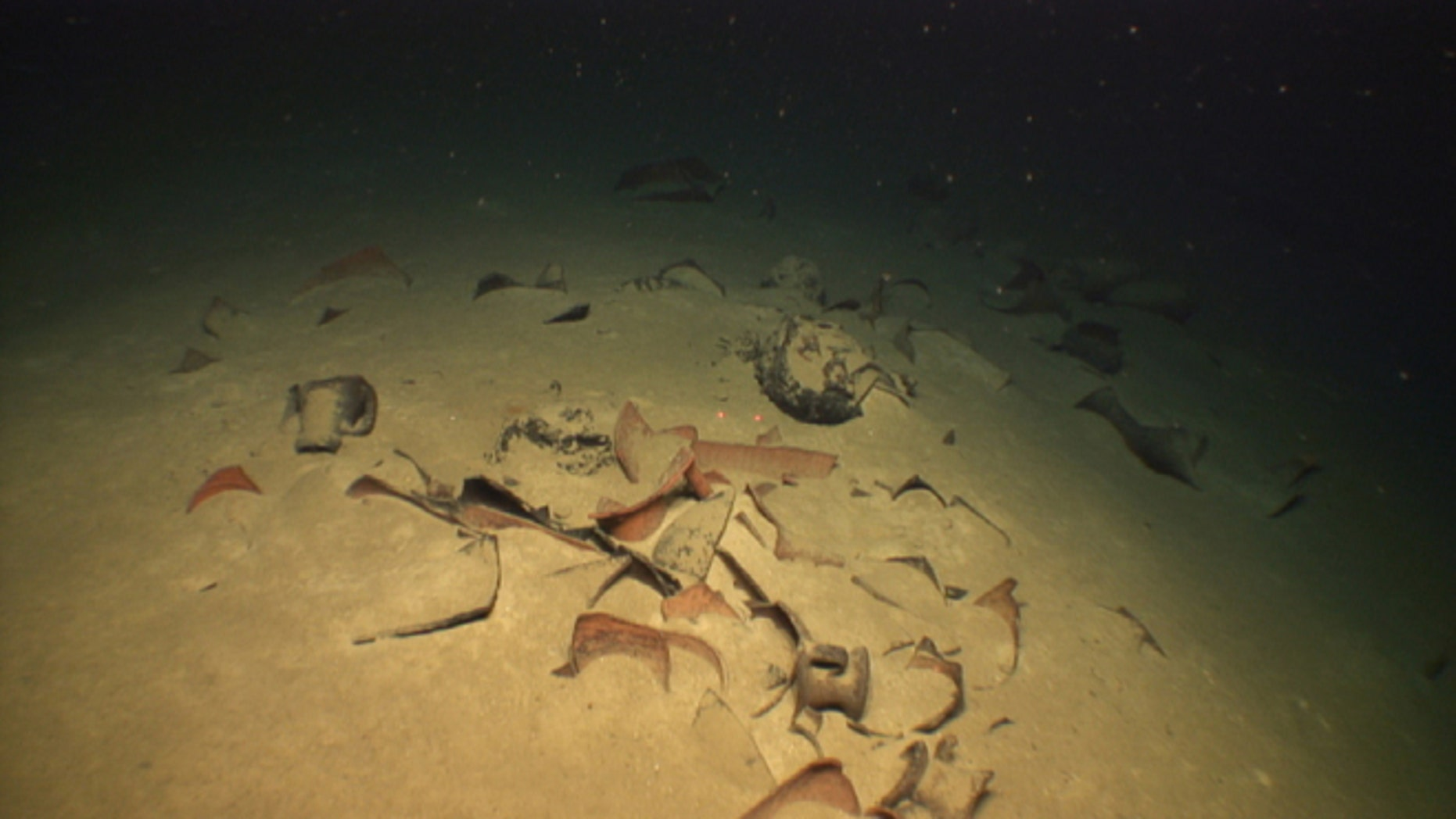 May 29, 2012: Broken ancient pottery from the wreck of a 3rd century AD Roman-era ship found 1.2 kilometers deep off the western coast of Greece. Greece's culture ministry says an undersea survey ahead of the sinking of a Greek-Italian gas pipe discovered the deepest-known shipwrecks in the Mediterranean.