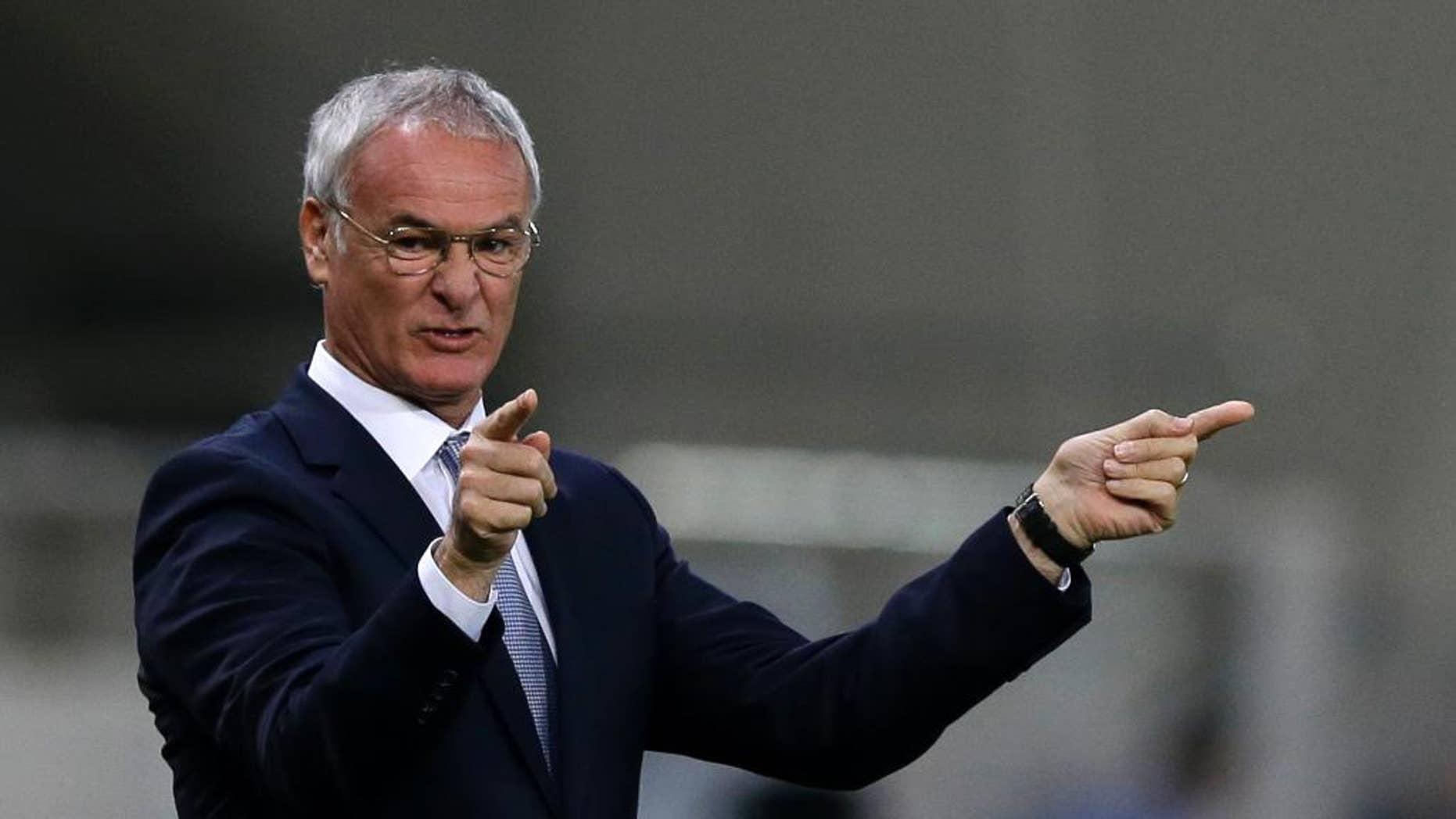 Greece's coach Claudio Ranieri of Italy reacts during the Group F Euro 2016 qualifying soccer match between Greece and Faroe Islands, at the Georgios Karaiskakis stadium, in the port of Piraeus, near Athens on Friday, Nov. 14, 2014. (AP Photo/Thanassis Stavrakis)