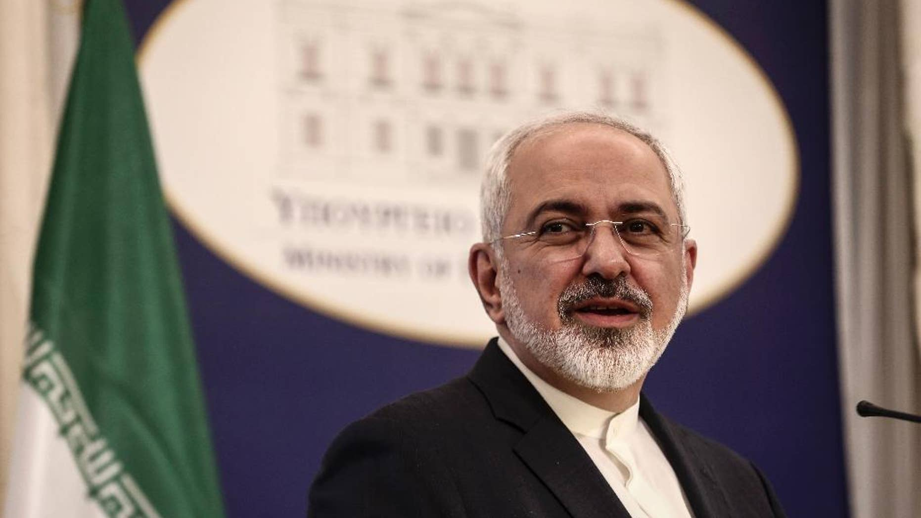 "Iranian Foreign Minister Mohammad Javad Zarif addresses journalists during a news briefing in Athens, Greece, on Thursday, May 28, 2015. Iran's foreign minister is holding out hope that a ""sustainable, mutually respectful"" deal can be struck with world powers in talks over his country's nuclear program before the current deadline of June 30. (AP Photo/Yorgos Karahalis)"