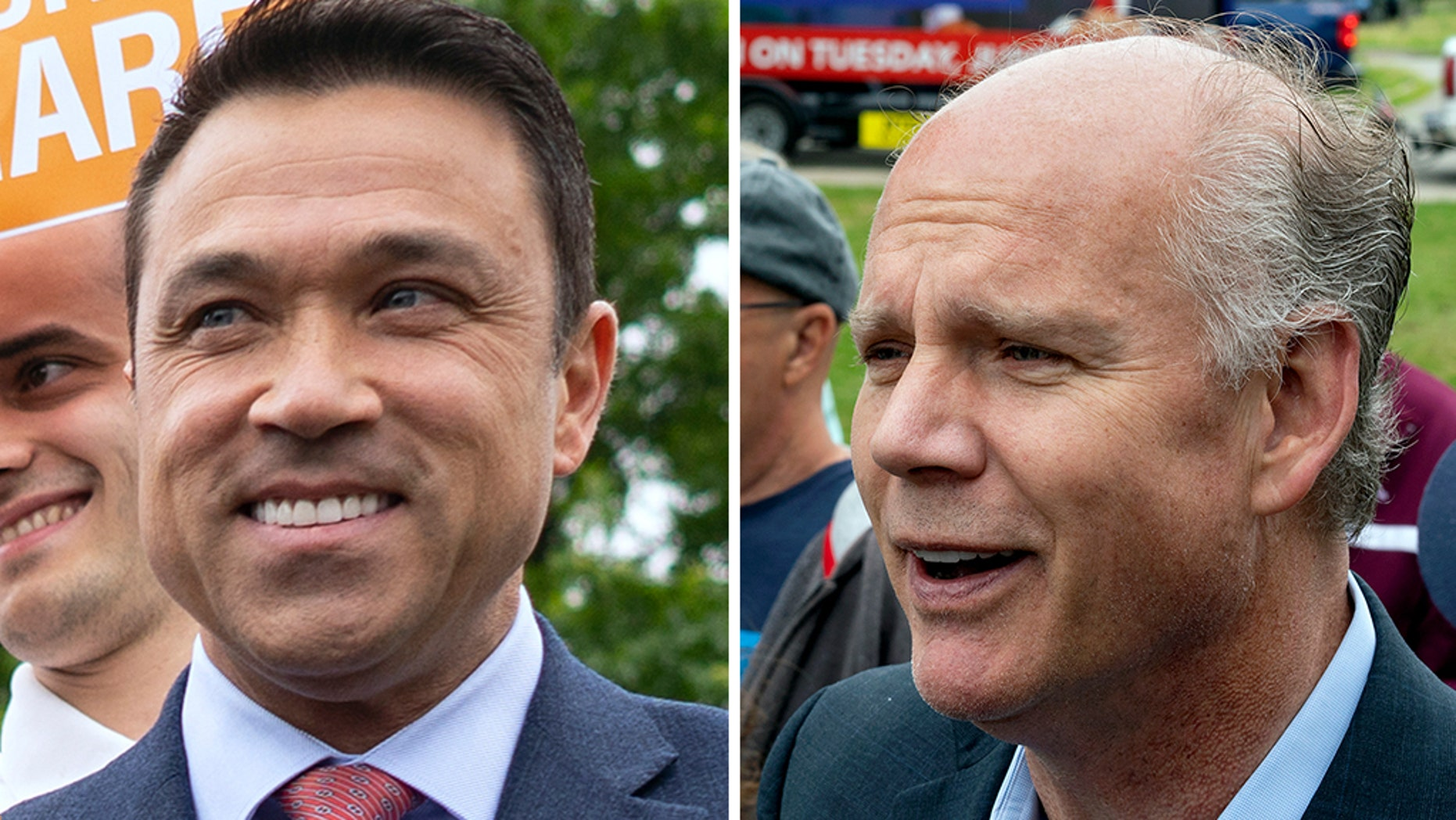 Former congressman Michael Grimm, left, is trying to unseat Rep. Dan Donovan in New York's 11th District