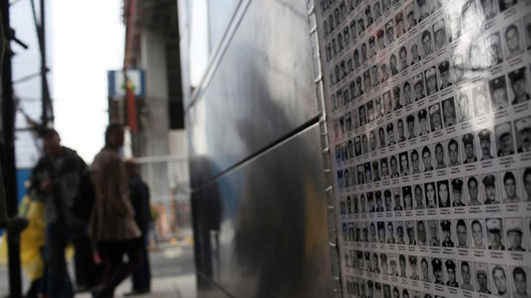 A memorial at Ground Zero dedicated to New York fire fighters killed on Sept. 11, 2001.
