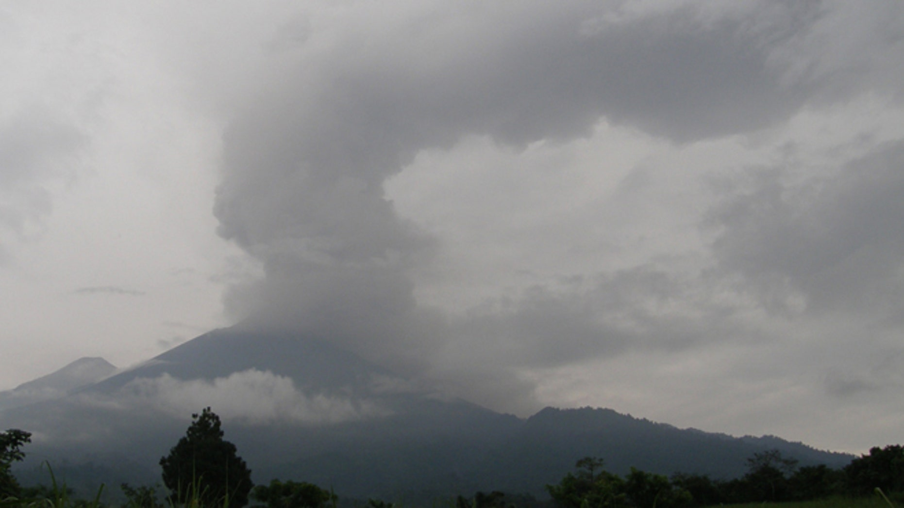 May 19: The Fuego volcano is seen from Yepocapa, south of Guatemala City.