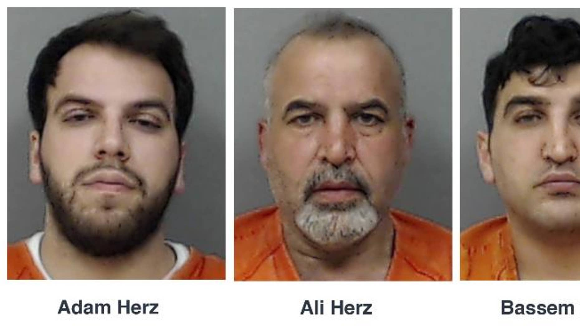 This combo of booking photos released by Linn County Sheriff's Office in Cedar Rapids. Iowa, shows four relatives, from left, Adam Herz, Ali Herz, Bassem Herz and Al Sarah Zeaiter, who are charged in Iowa on Tuesday, May 12, 2015, with conspiring to smuggle guns and ammunition to Lebanon that were hidden with equipment exports and supplies for Syrian refugees. Federal agents intercepted cargo containers in March and again last week that were bound for Beirut carrying a total of 152 firearms and 16,000 rounds of ammunition, according to a criminal complaint. The complaint says the four came under suspicion as they stockpiled more than $100,000 worth of guns and ammunition legally purchased from dealers in eastern Iowa over the last 17 months. (Linn County Sheriff's Office via AP)