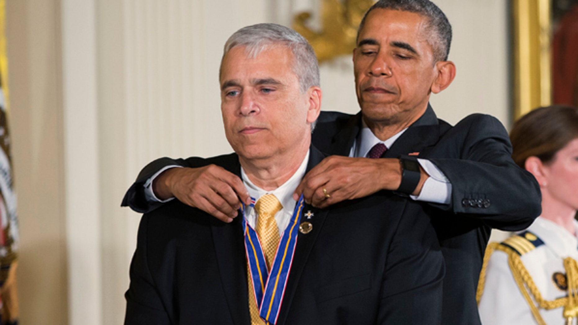 President Obama presents the Medal of Valor to Officer Mario Gutierrez, of the Miami-Dade Police Department, Fla.