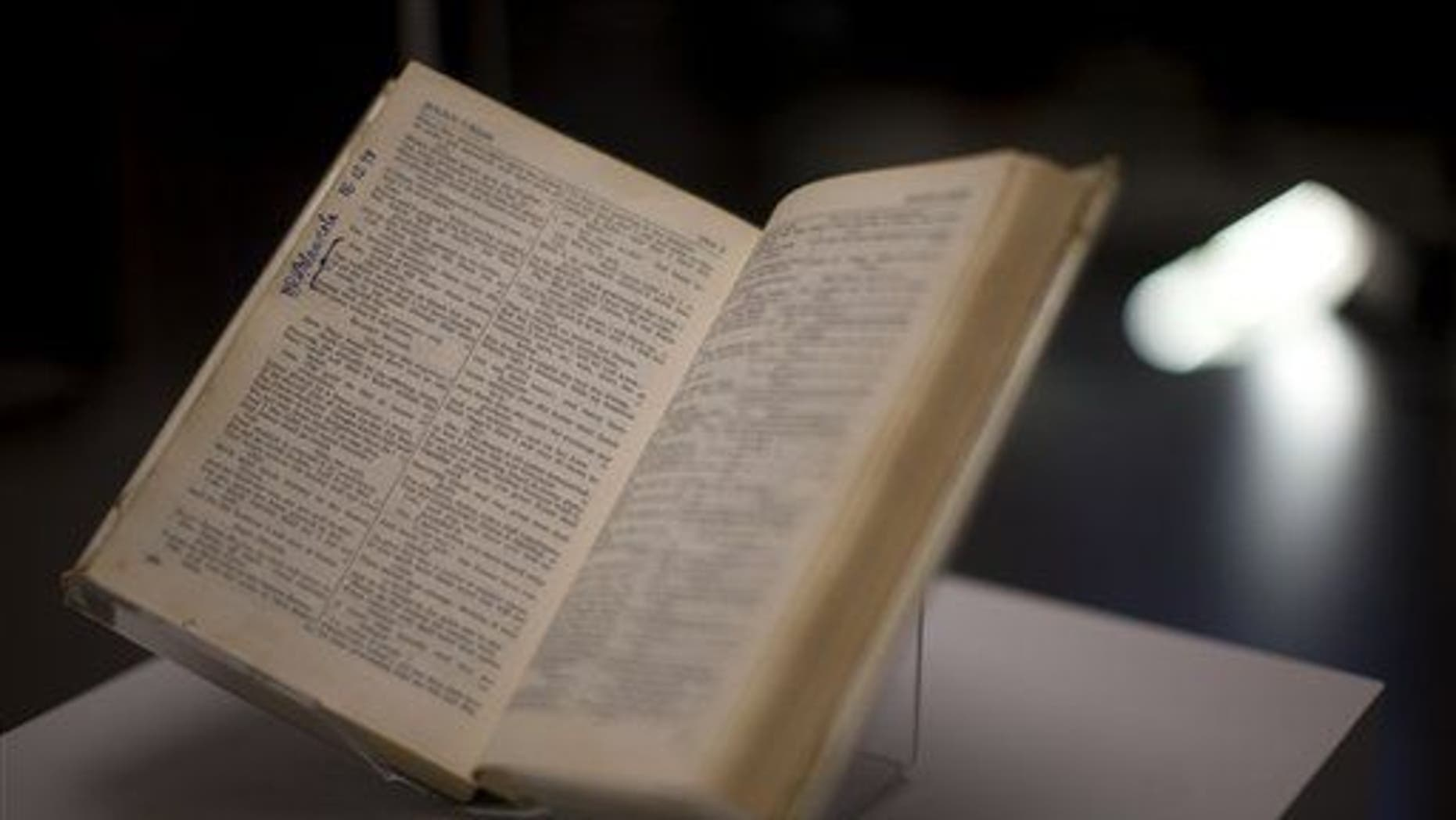 """A copy of the """"Complete Works of Shakespeare"""" is displayed during the press view of the """"Shakespeare: staging the world"""" exhibition at the British Museum in London, Wednesday, July 18, 2012."""