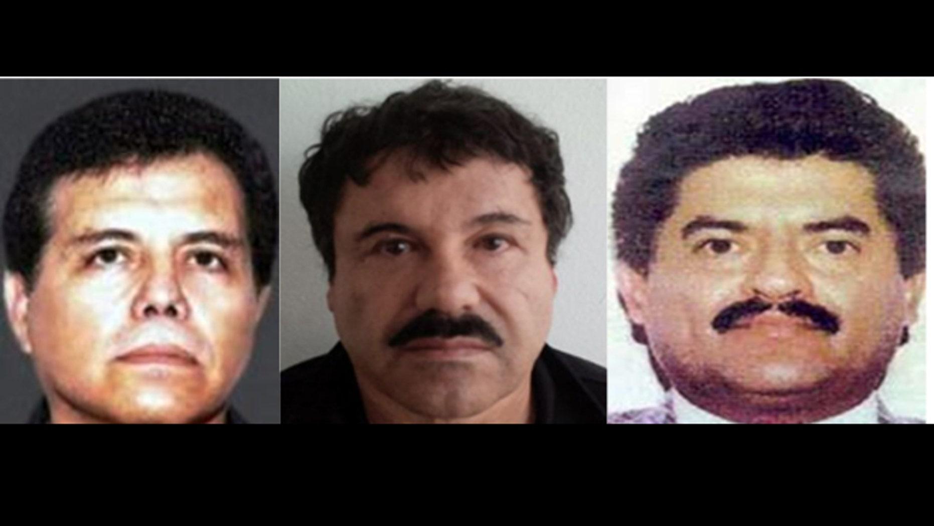 "A photo composite of members of the Sinaloa drug cartel: (left to right) Ismael Zambada-Garcia, Joaquín ""El Chapo"" Guzmán, Juan José Esparragoza"