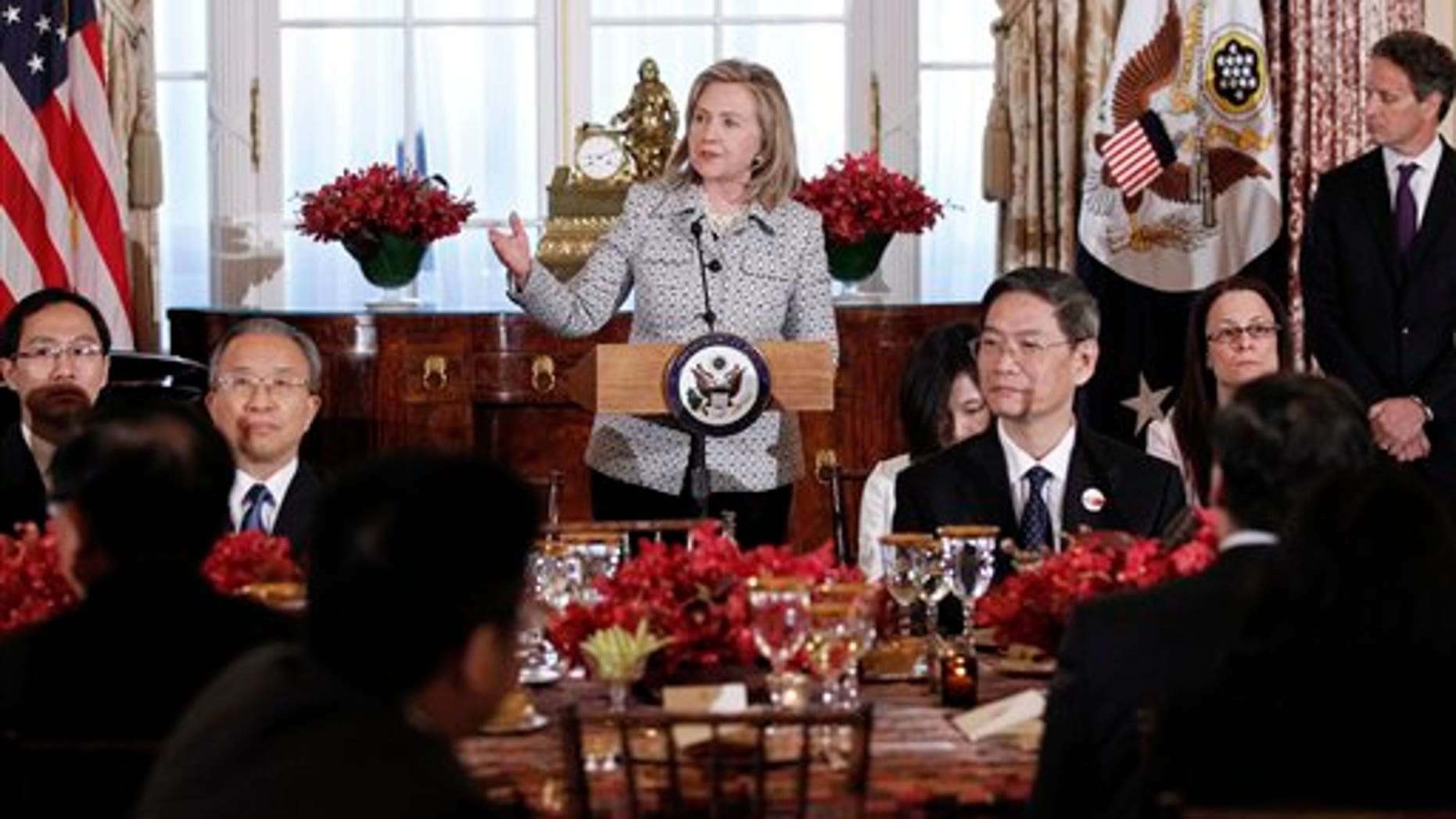 May 9: Secretary of State Hillary Clinton gives remarks during a dinner for the joint meeting of the U.S.-China Strategic and Economic Dialogue at the State Department.
