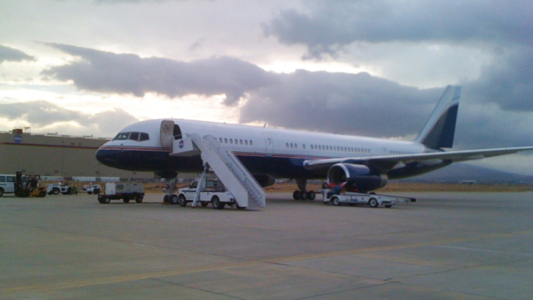 A Google-owned 757 loads cargo for a scientific mission run by NASA's Airborne Scientific Program in Palmdale, Calif. in 2009.