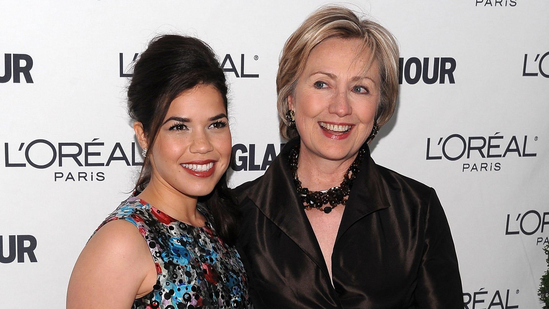 America Ferrera and Hillary Clinton on November 10, 2008 in New York City.