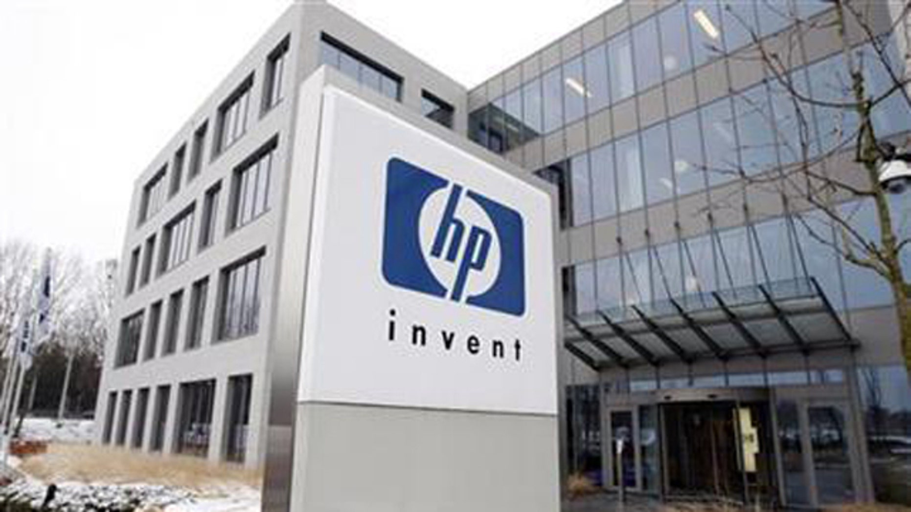 Jan. 12, 2010: A logo of HP is seen outside Hewlett-Packard Belgian headquarters in Diegem, near Brussels.