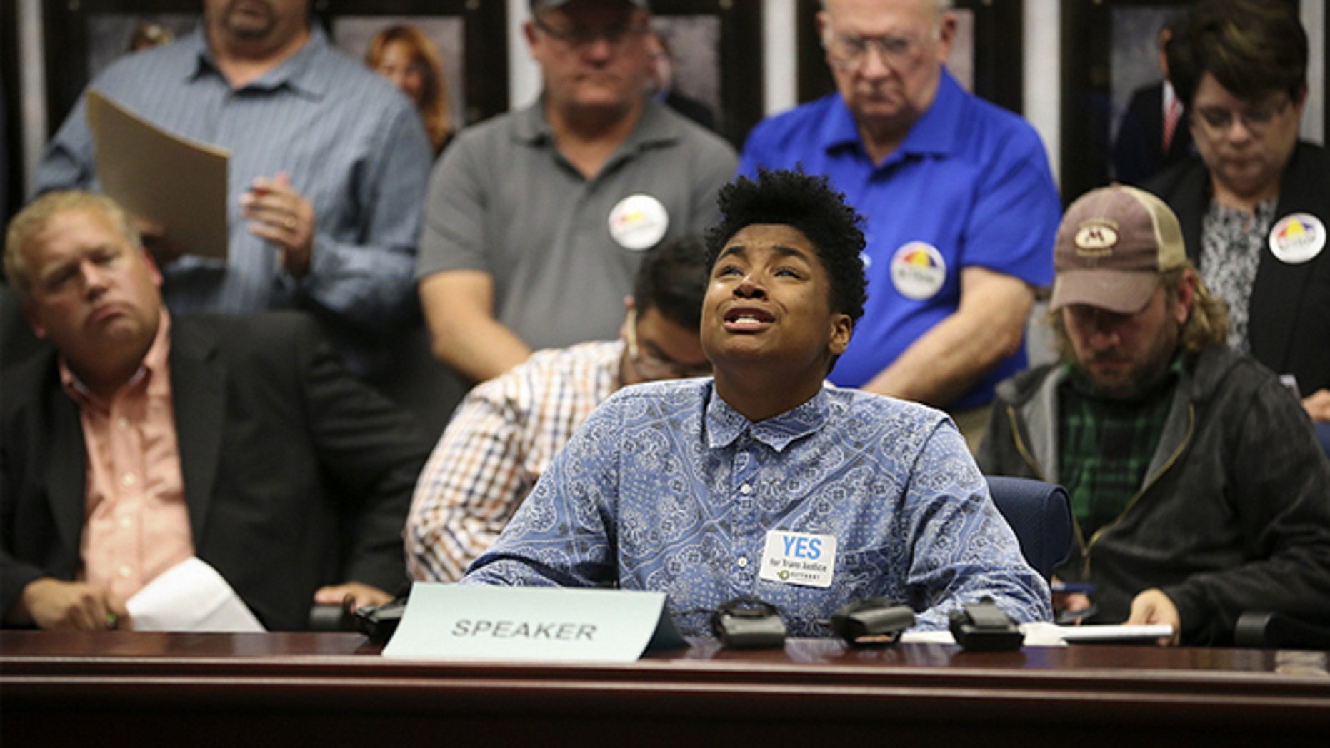 OCT. 1: Zeam Porter talks about the years she played basketball on the girls team and how it always felt like the wrong team, during the Minnesota State High School League's public hearing on the proposed transgender policy.