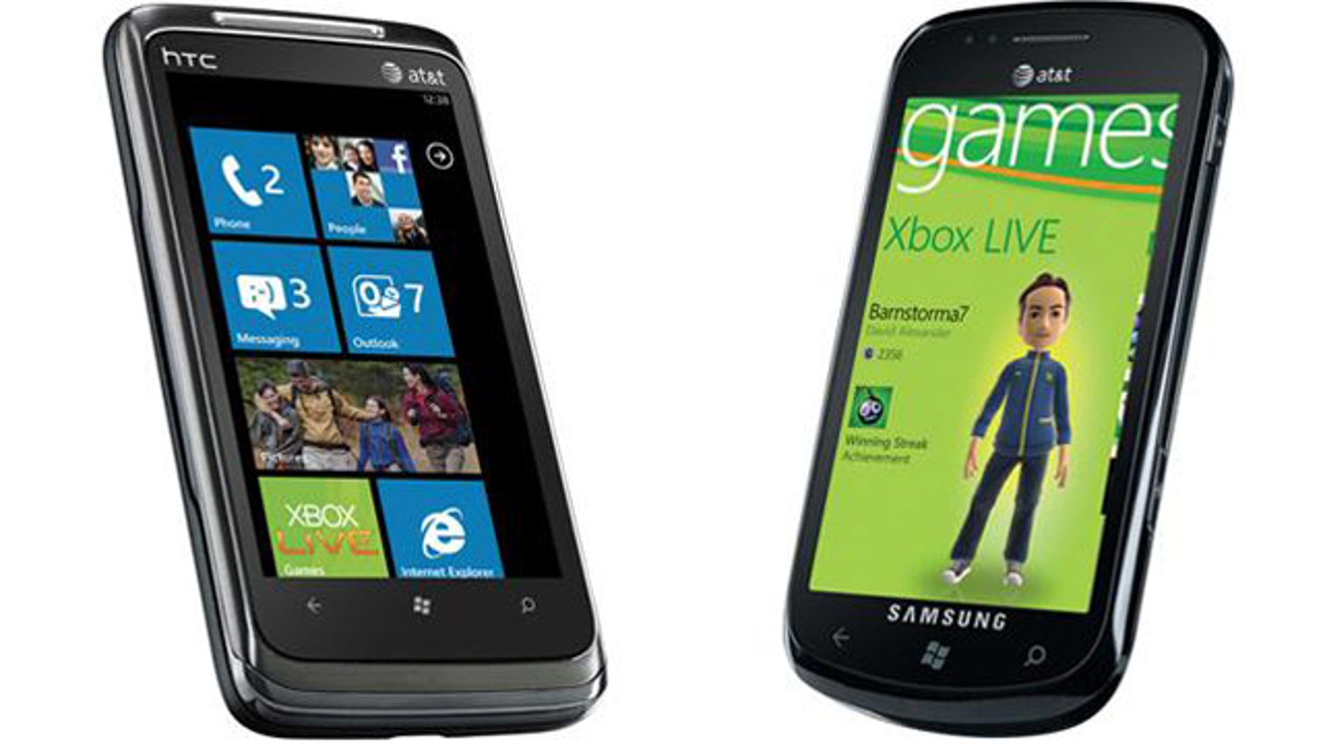 The HTC Surround (at left) and the Samsung Focus (at right), two of the many Windows Phone 7-powered smartphones coming out this Fall.