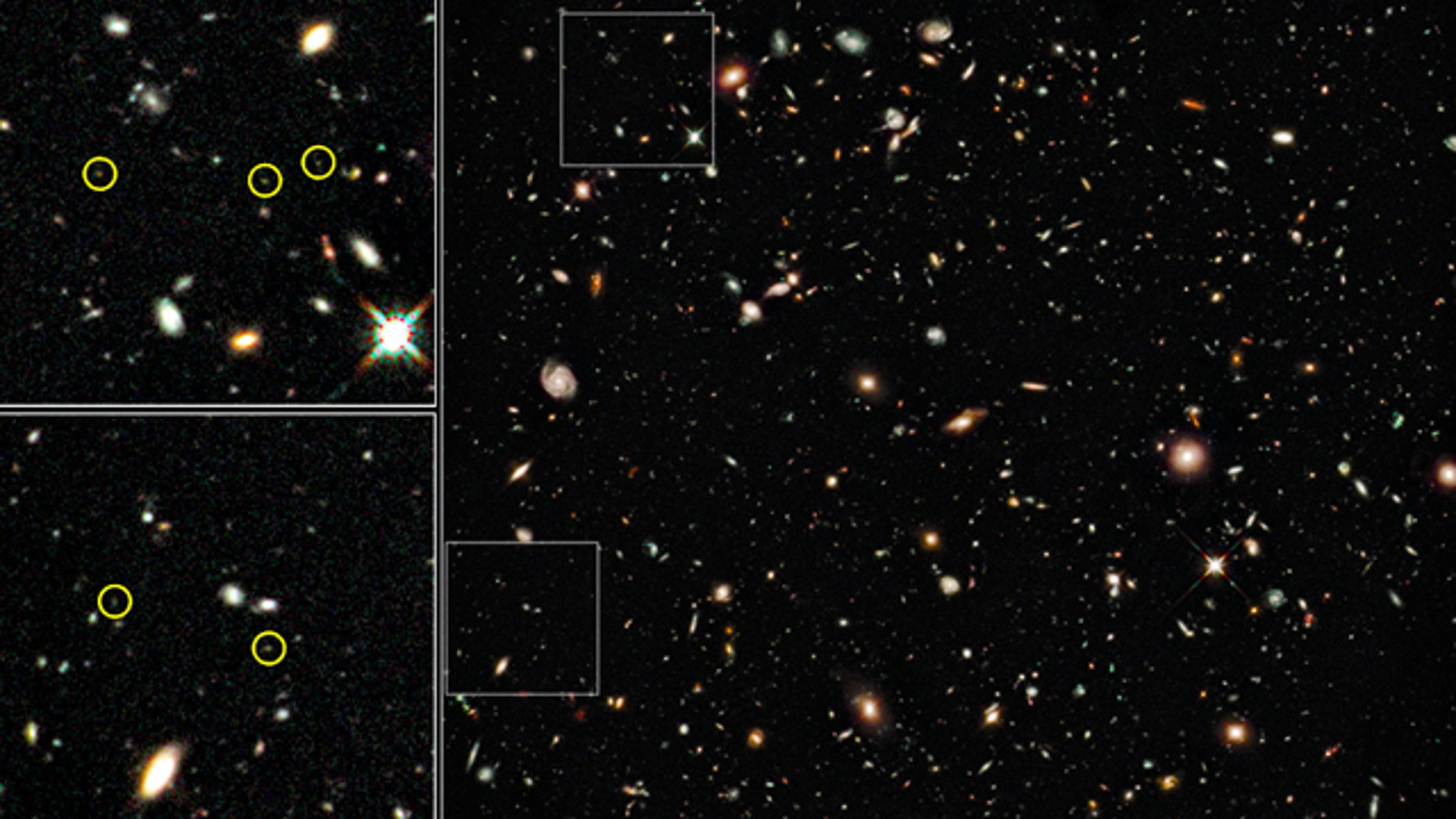 This montage of images taken by the Hubble Space Telescope in Aug. 2009 is the deepest image of the universe ever taken in near-infrared light by the observatory