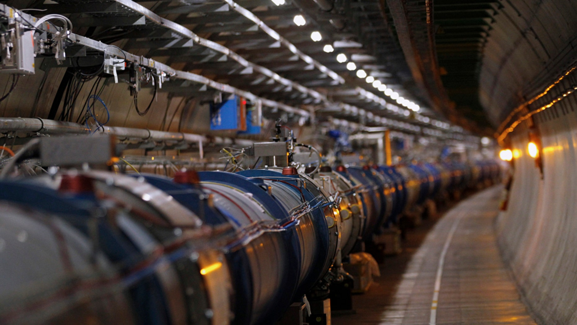 The LHC (Large Hadron Collider) tunnel.