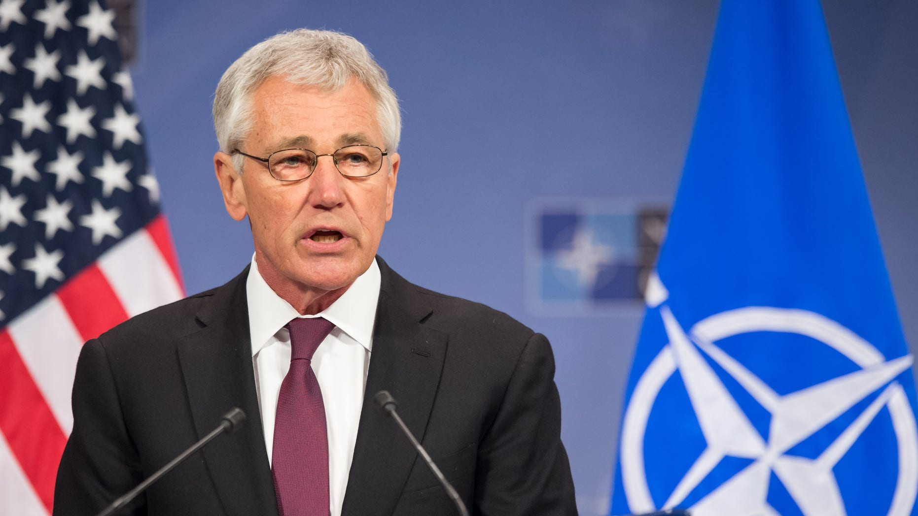 Feb. 27, 2014: U.S. Secretary of Defense Chuck Hagel addresses the media after a meeting of NATO defense ministers at NATO headquarters in Brussels.