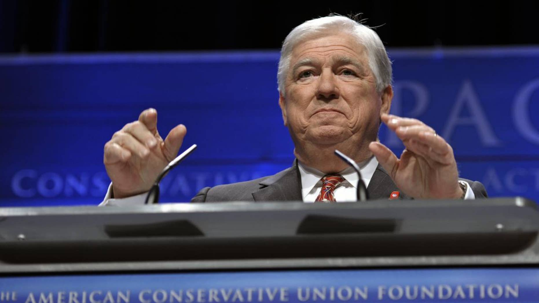 Mississippi Gov. Haley Barbour speaks at the Conservative Political Action Conference (CPAC) in Washington, Saturday, Feb. 12, 2011. (AP Photo/Cliff Owen)