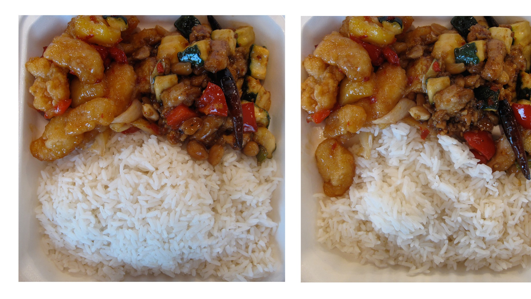 This two-picture combo shows the same meal, but the photo at left shows a full serving of rice and the other a half serving of rice. (AP Photo/Aline Michelle Grüneisen, Center for Advanced Hindsight, Duke University)