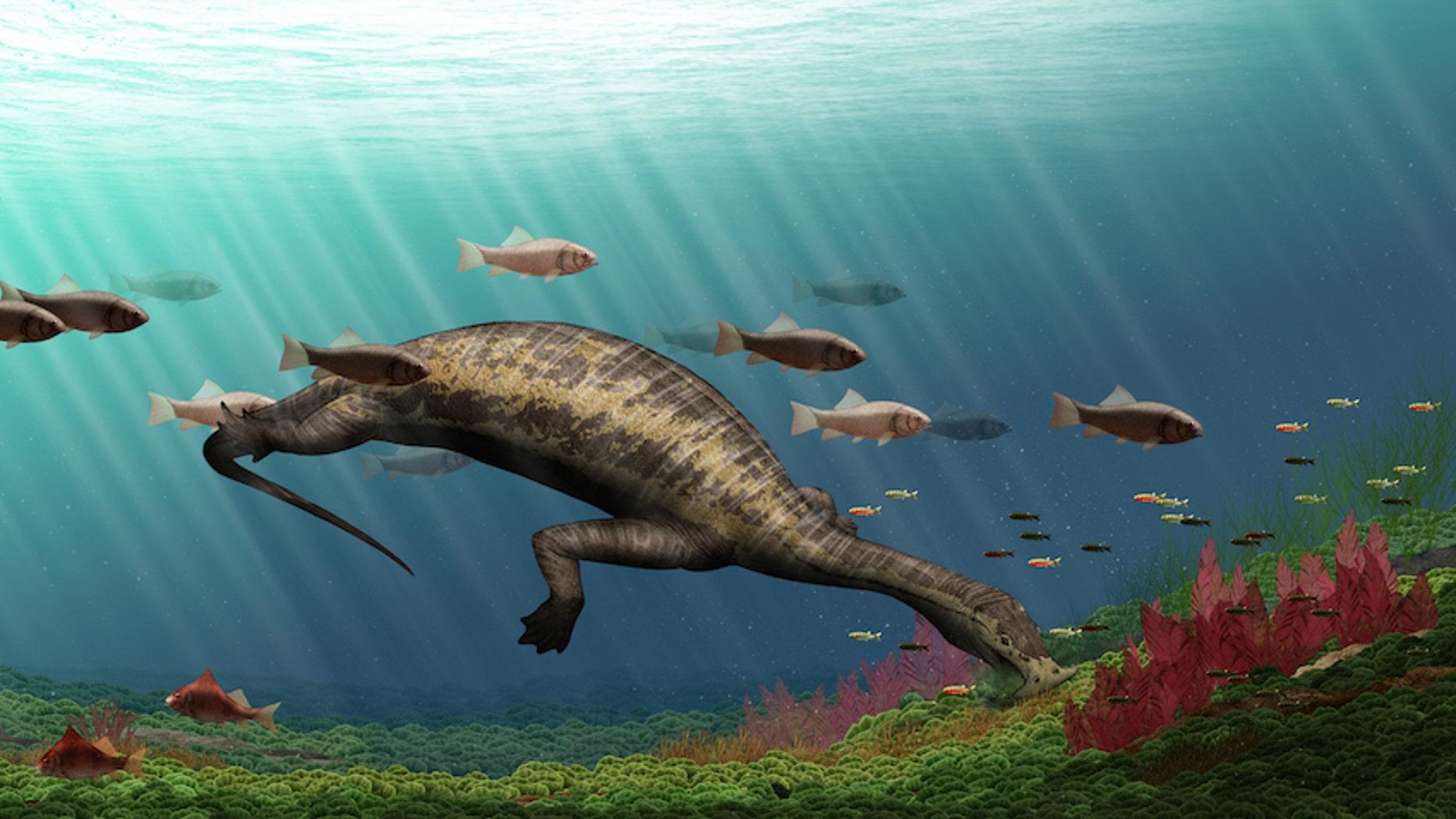 """An illustration of the reptilian """"hammerhead"""" reptile, <i>Atopodentatus unicus</i>."""