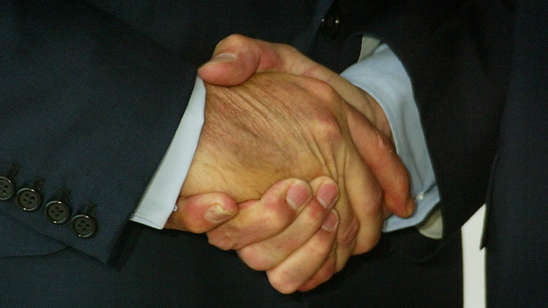 Close-up of the handshake between U.S. President George W.Bush (L) andFrench President Jacques Chirac (R), in Evian June 1, 2003 at themeeting site of the G8 summit, June 1-3, 2003. Leaders of the Group ofEight - the United States, Japan, Germany, France, Britain, Italy,Canada and Russia join counterparts from 12 major developing countriesto discuss debt relief, AIDS and access to clean water. REUTERS/PeterMacDiarmidJES/WS