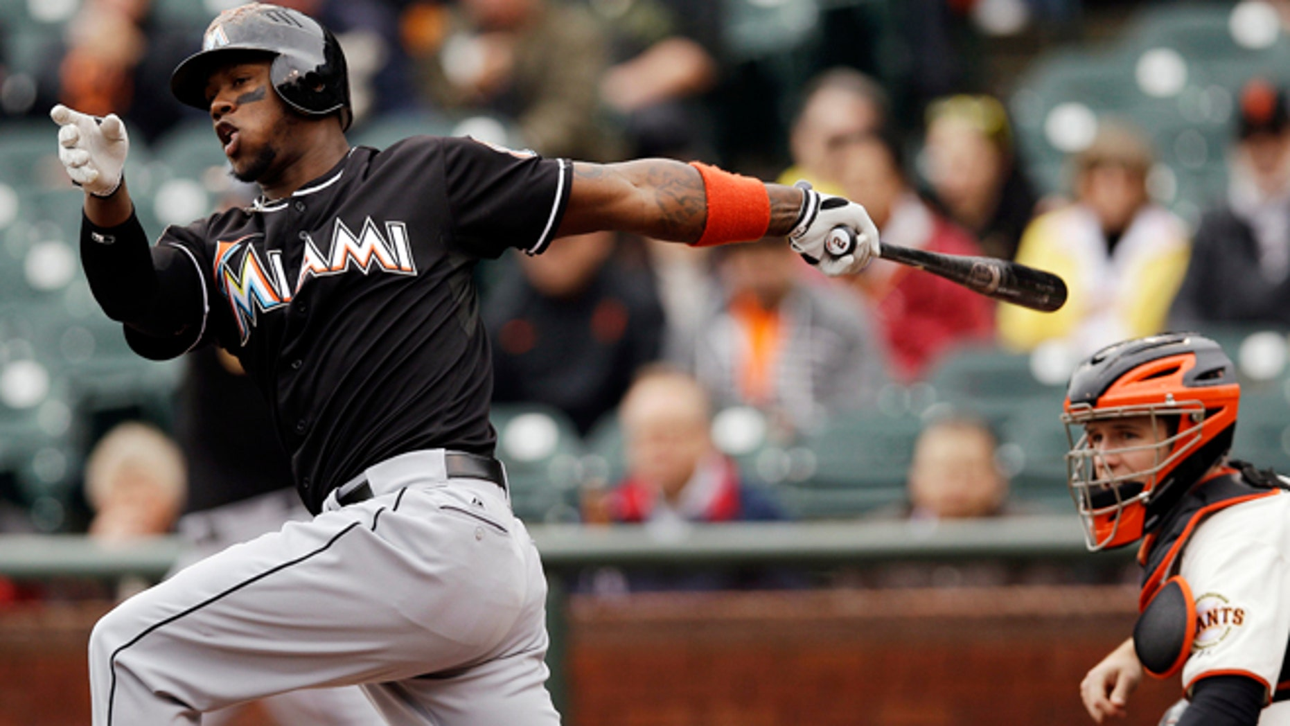 May 3, 2012:  Miami Marlins' Hanley Ramirez grounding out and driving in a run,  on a fielder's choice against the San Francisco Giants during the first inning of a baseball game in San Francisco. (AP Photo/Marcio Jose Sanchez)