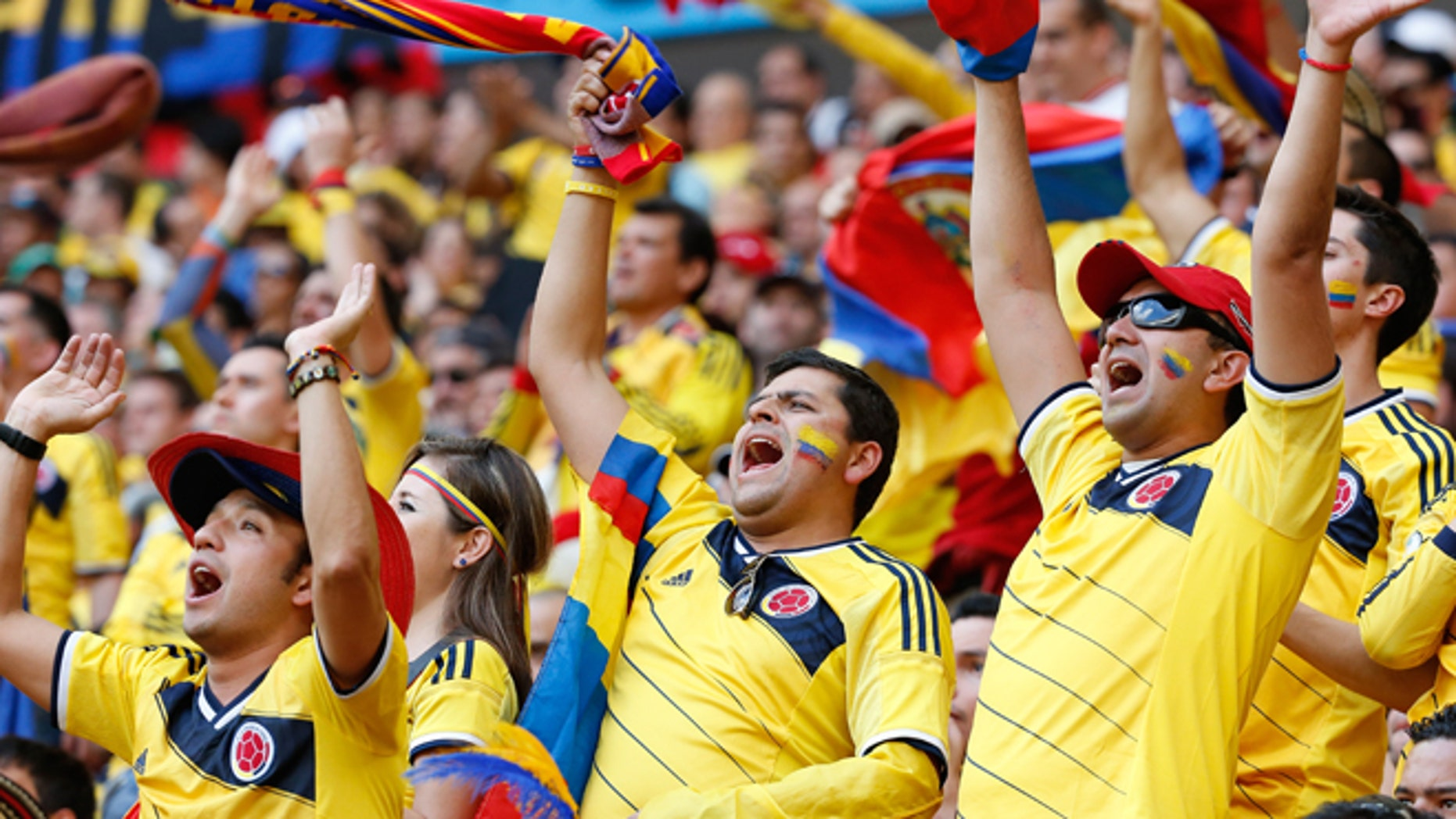 Colombia fans celebrate during a World Cup match on June 19, 2014 in Brasilia, Brazil.
