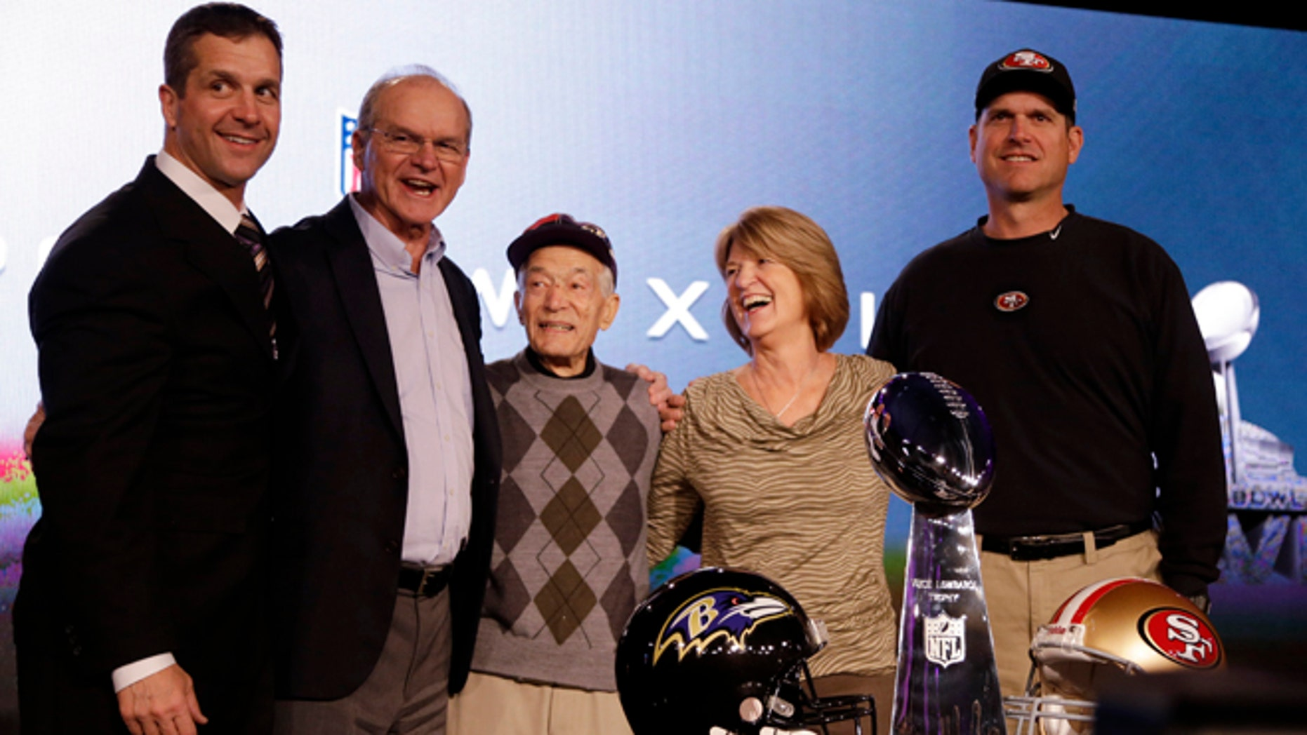 Feb. 1, 2013: San Francisco 49ers head coach Jim Harbaugh, right, and Baltimore Ravens head coach John Harbaugh, left, pose with their parents, Jack and Jackie, and grandfather Joe Cipiti during a news conference for the NFL Super Bowl XLVII football game in New Orleans.