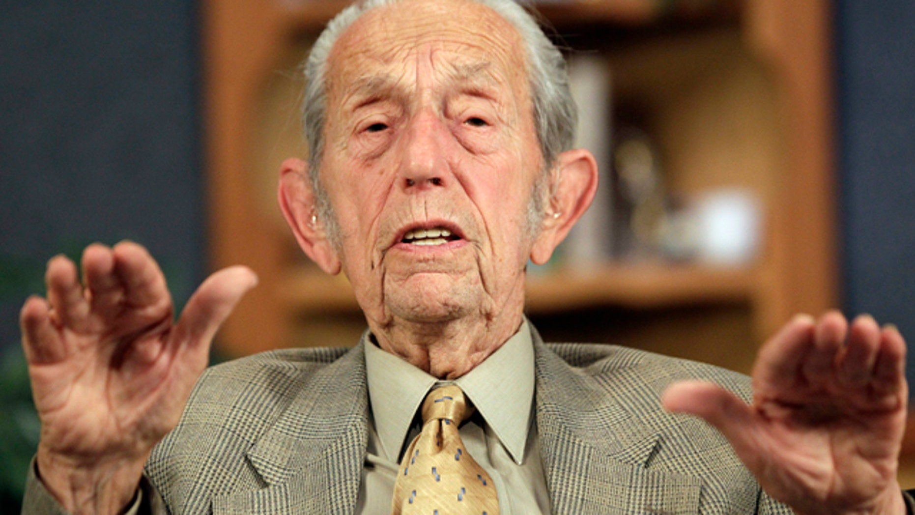 """March 23, 2011: Harold Camping speaks during a taping of his show """"Open Forum"""" in Oakland, Calif. Camping says his prophecy that the world would end was off by five months because Judgment Day actually will come on Oct. 21."""